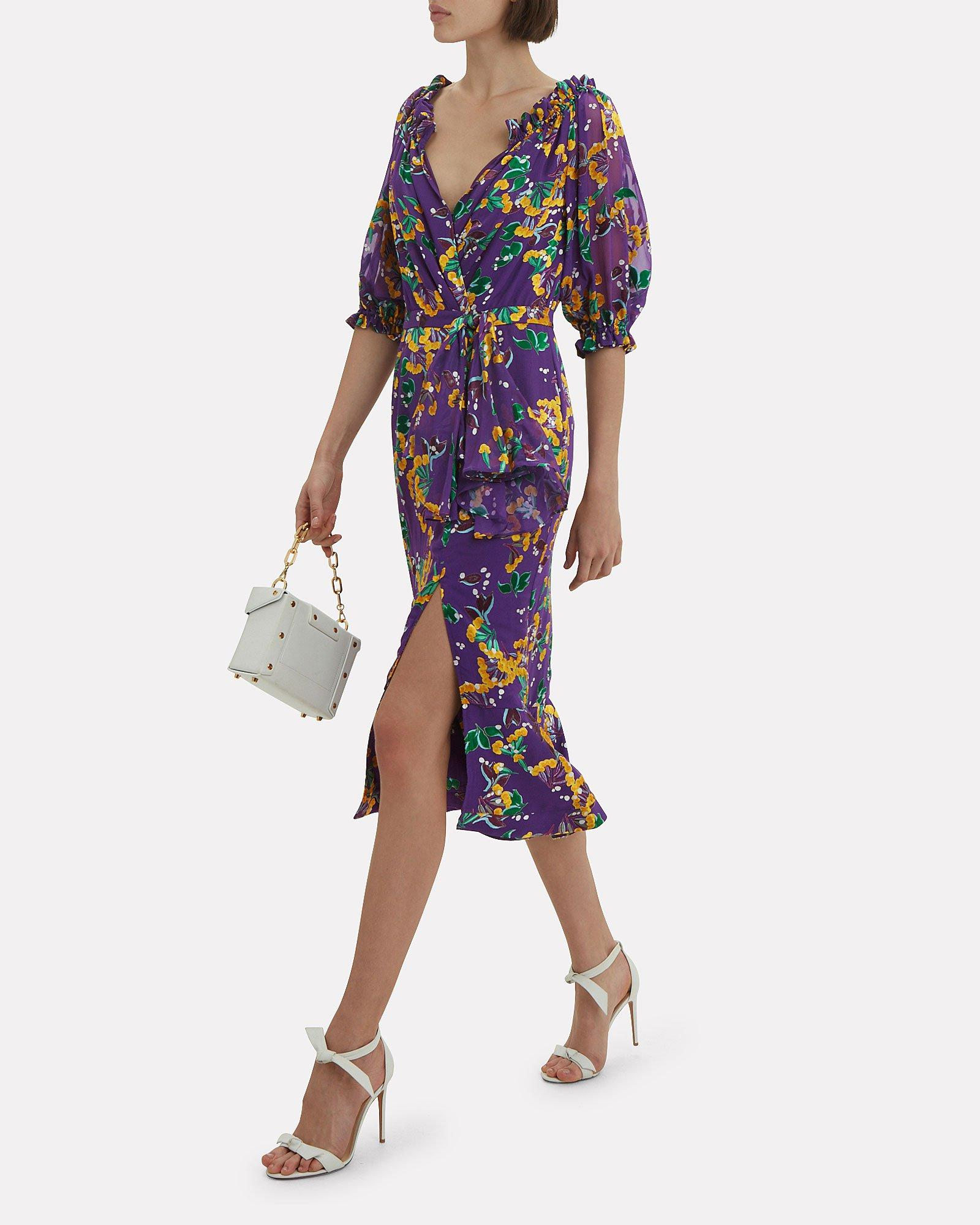 5adae5c53cd Lyst - Saloni Olivia Floral Midi Dress