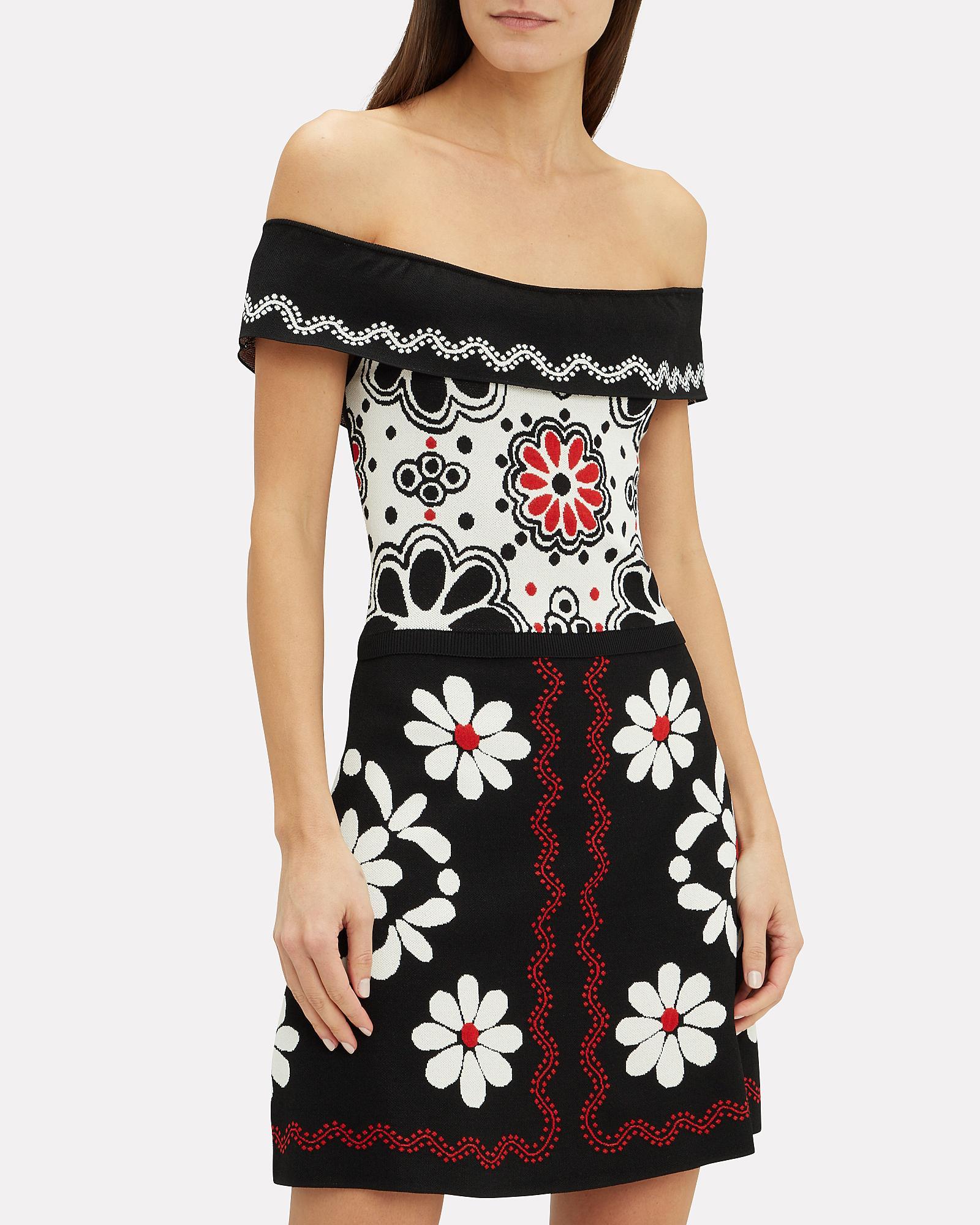 58bc2d1dc2b Red Valentino Black Intarsia Printed Knit Mini Dress Lyst View Fullscreen