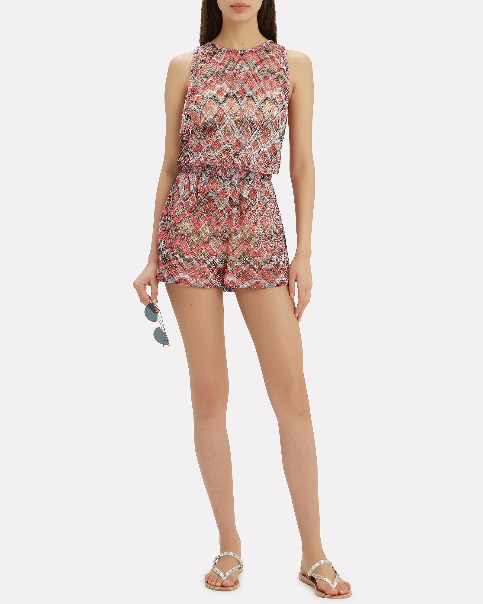 b2726851417 Lyst - Missoni Chevron Knit Beach Playsuit in Red