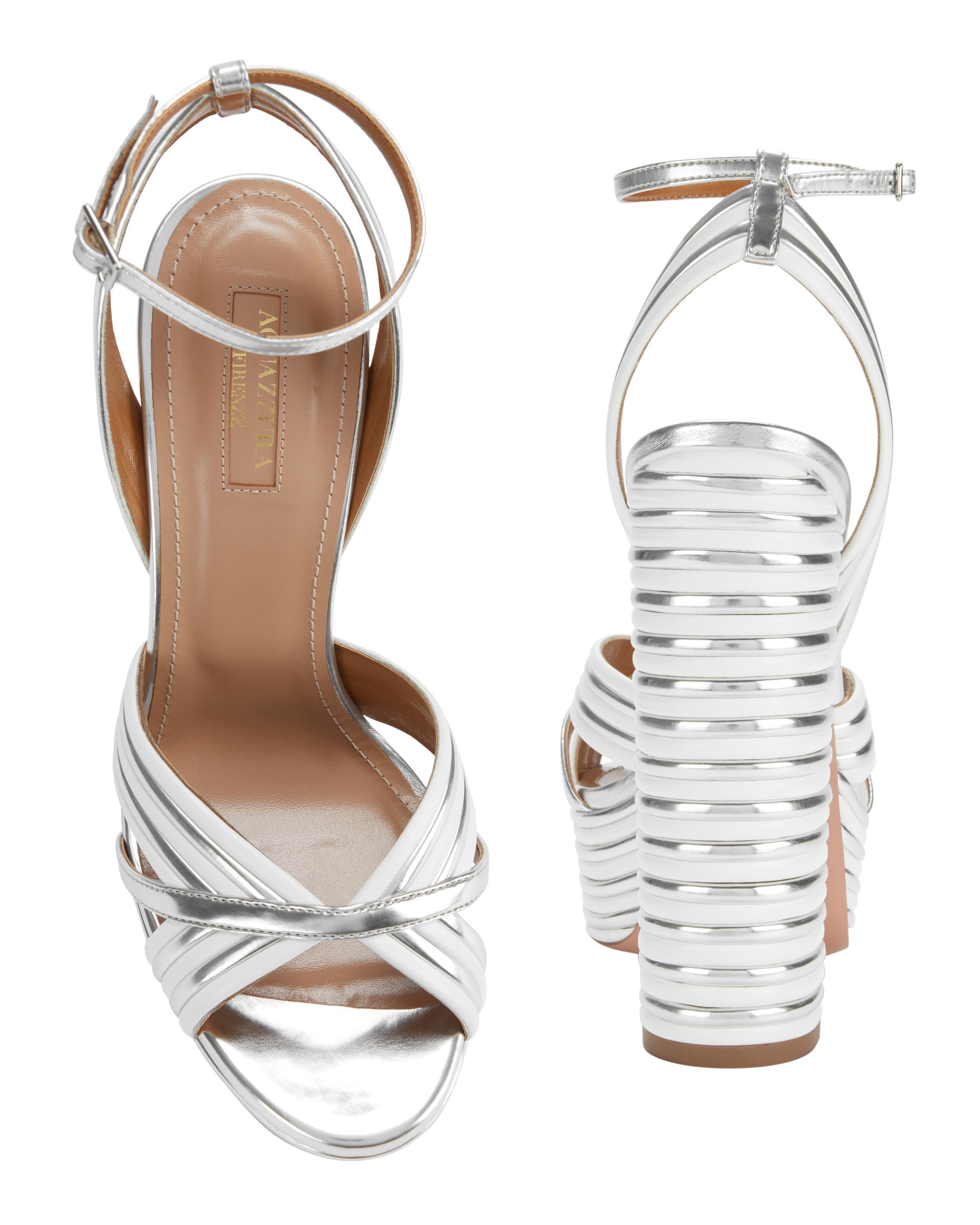 8c885f05ce Aquazzura Sundance Silver Platform Sandals in White - Lyst