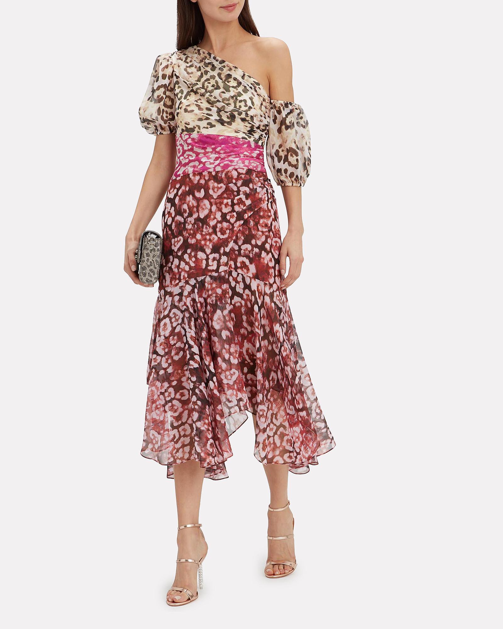 0bc376a4d1 Lyst - AMUR Jaylah One-shoulder Printed Silk-chiffon Midi Dress