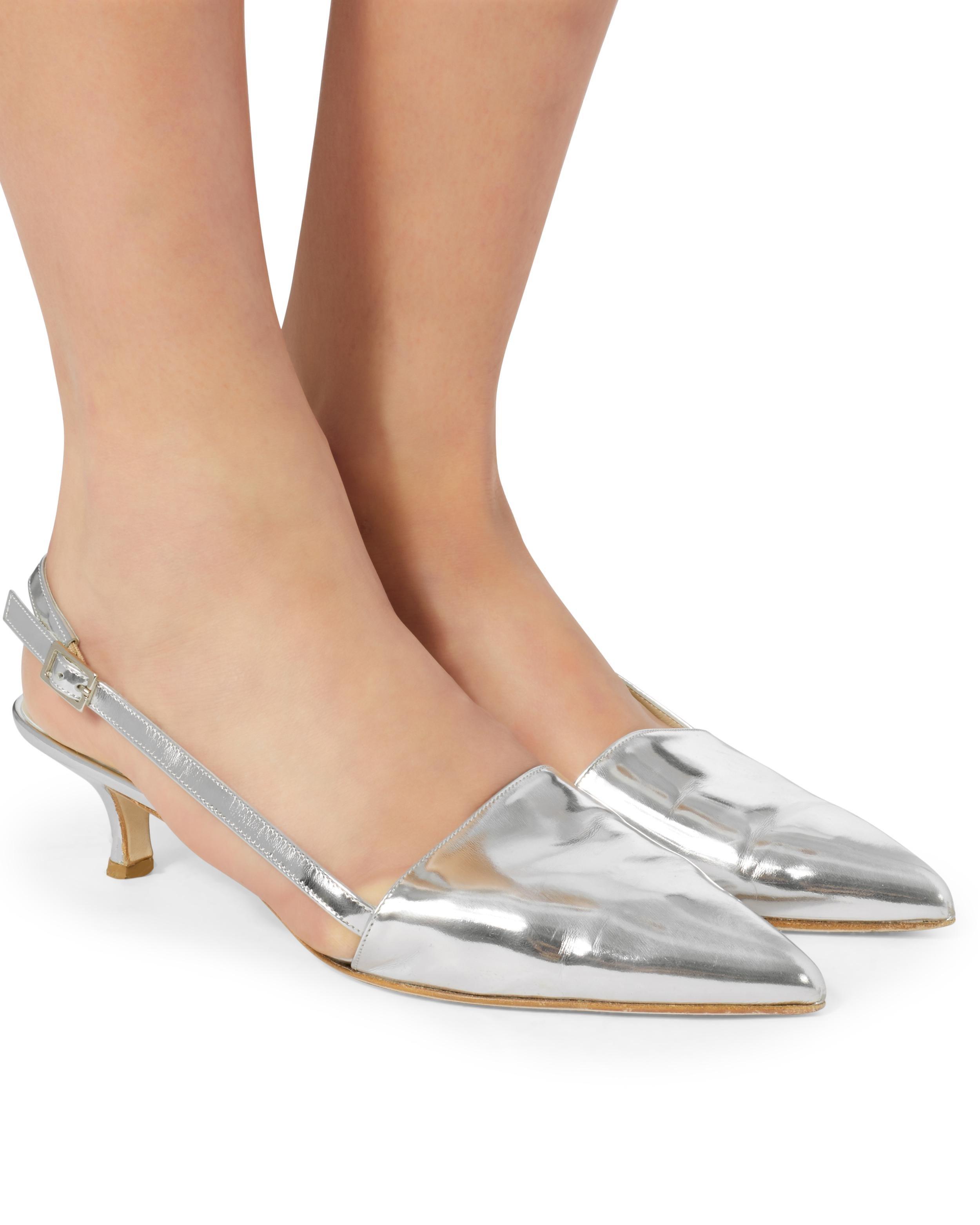fb7a2961571 Lyst - Tibi Simon Slingback Kitten Heels in Metallic