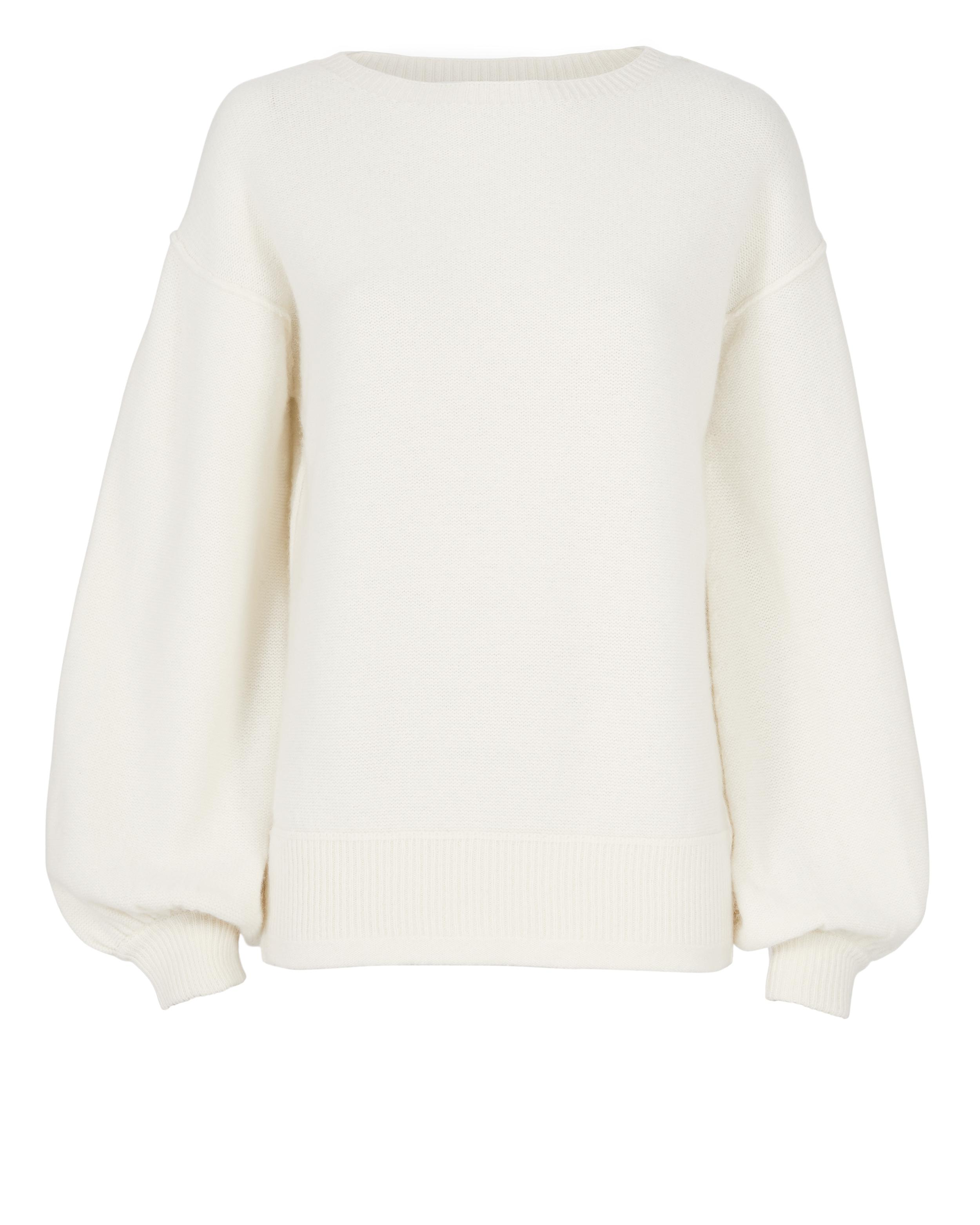 Helmut lang Balloon Sleeve Pullover Sweater in White | Lyst