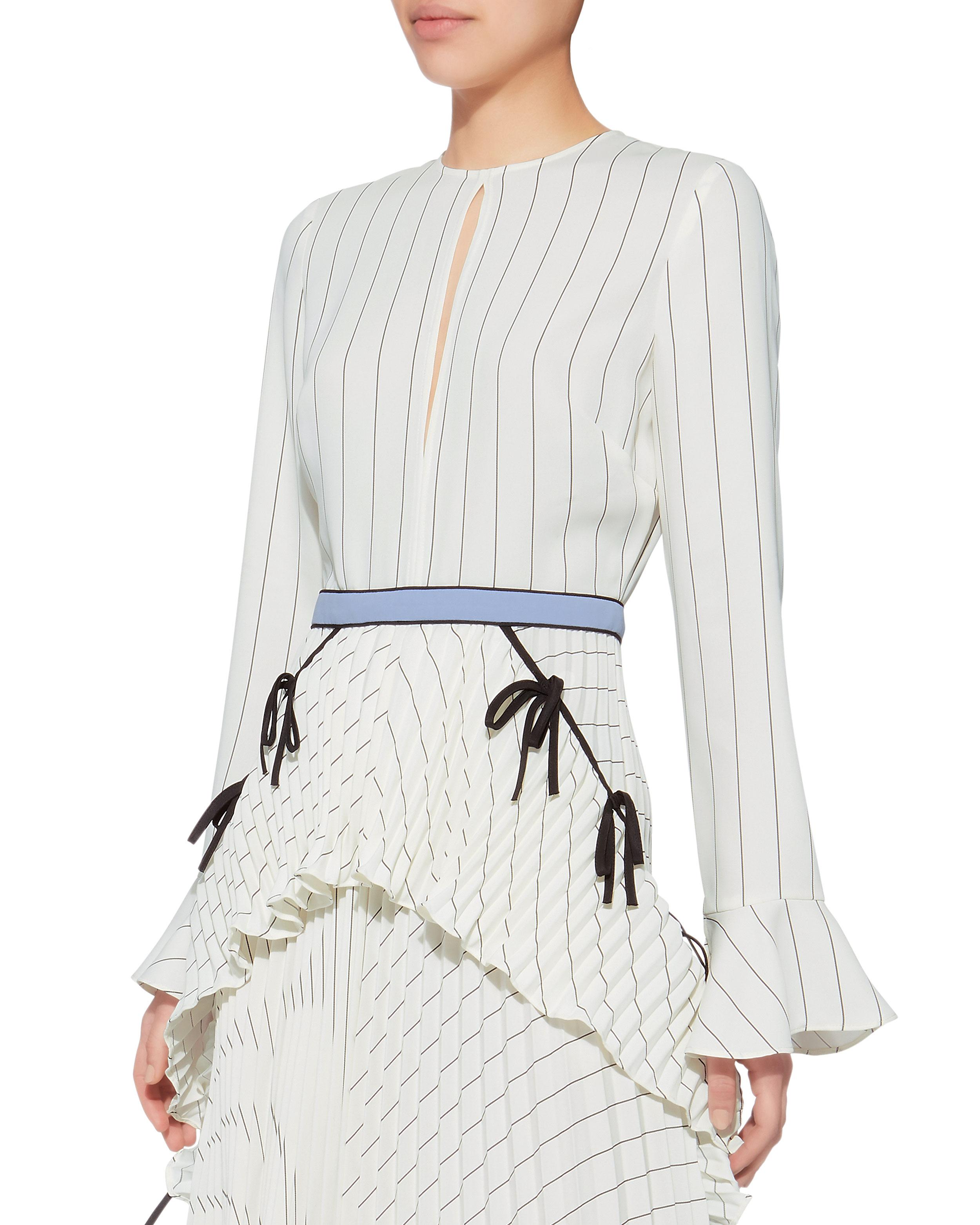 7815304c967 Self-Portrait Monochrome Striped Pleated Dress in White - Lyst