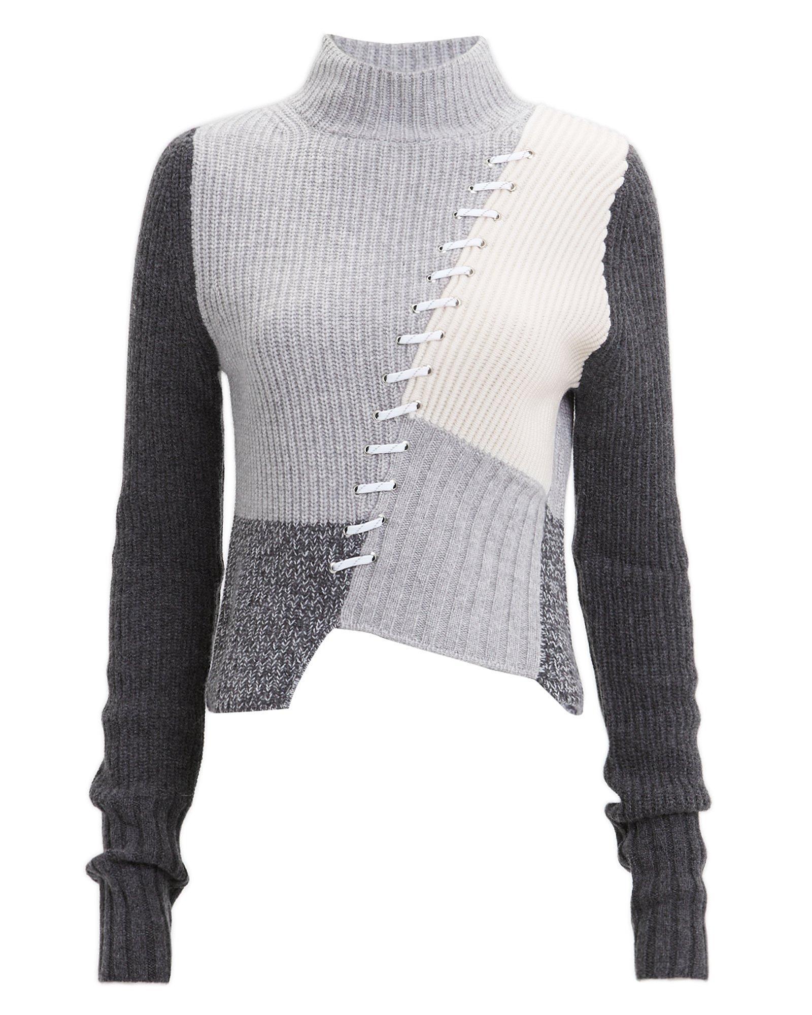 8e721ec9e858 Zoe Jordan - Gray Kelly Colorblock Lace Sweater - Lyst. View fullscreen