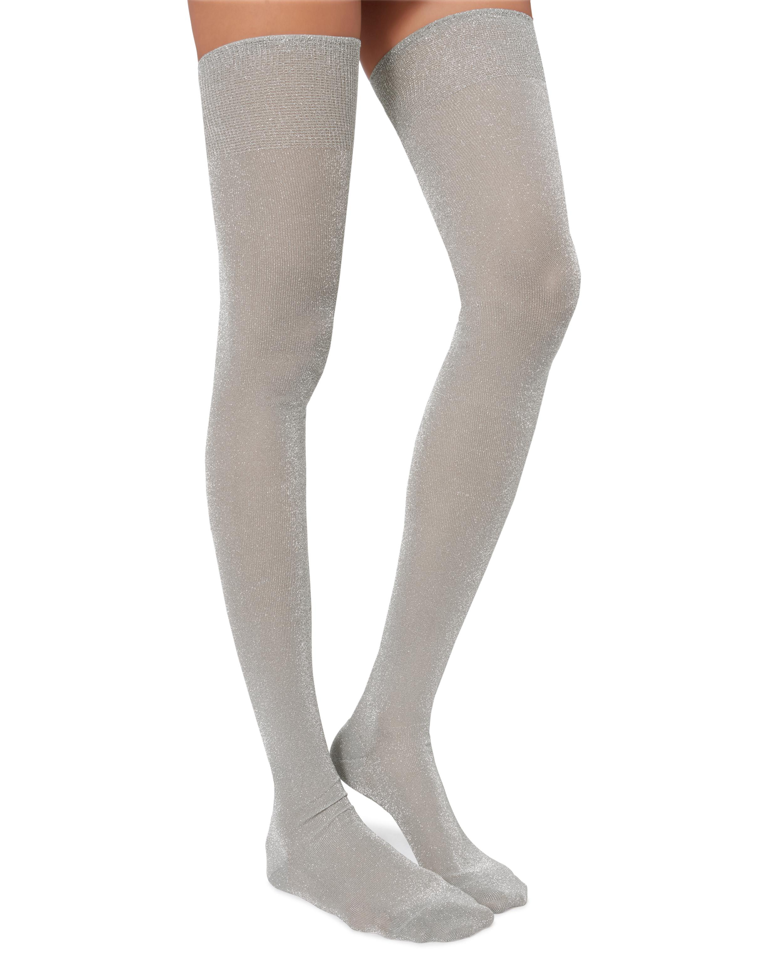86dc8ac13d9 Missoni Calze Lurex Silver Thigh High Socks in Metallic - Lyst