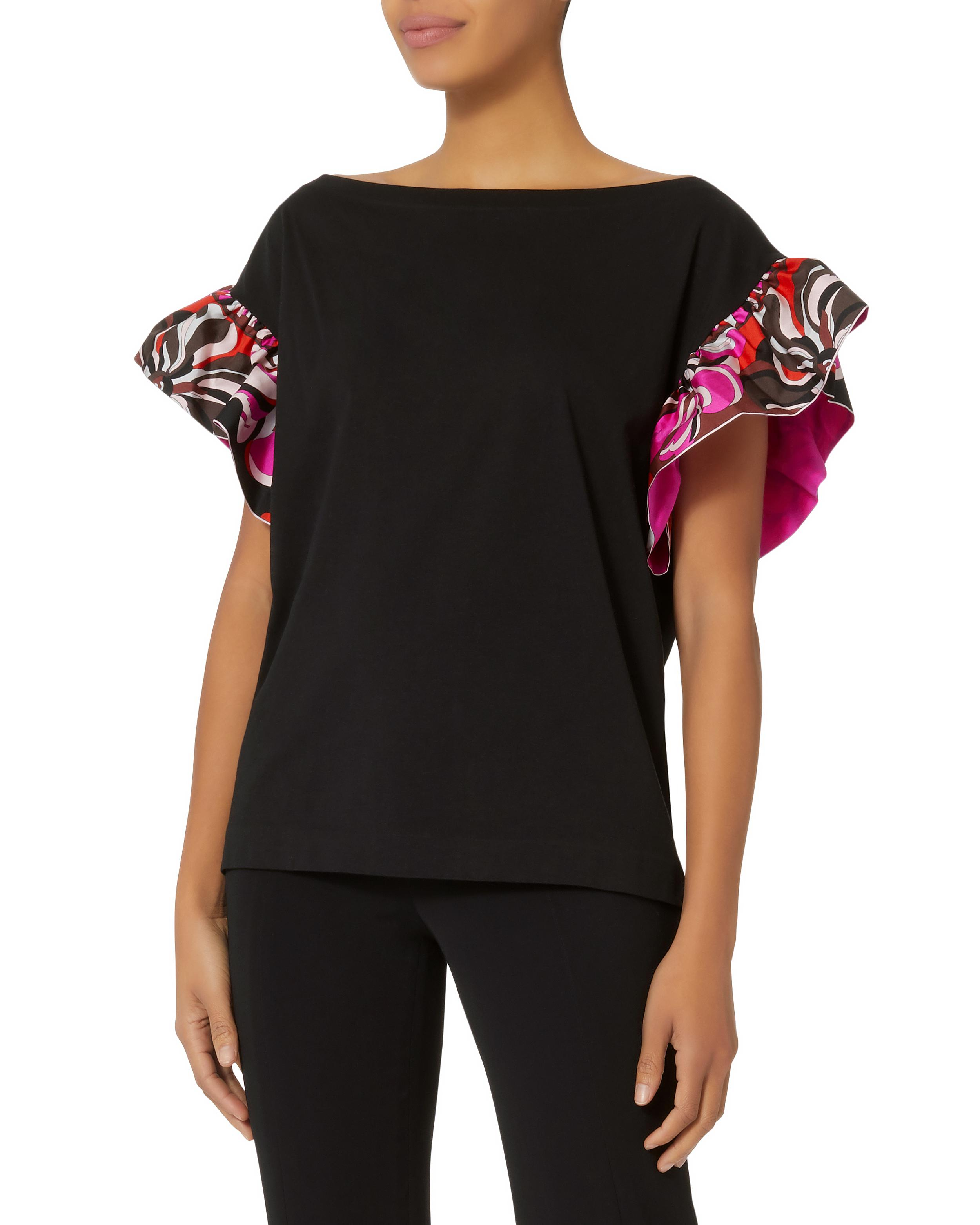 Free Shipping Sale frill-sleeve top - Black Emilio Pucci Cheap Price Genuine Online 2uyLy
