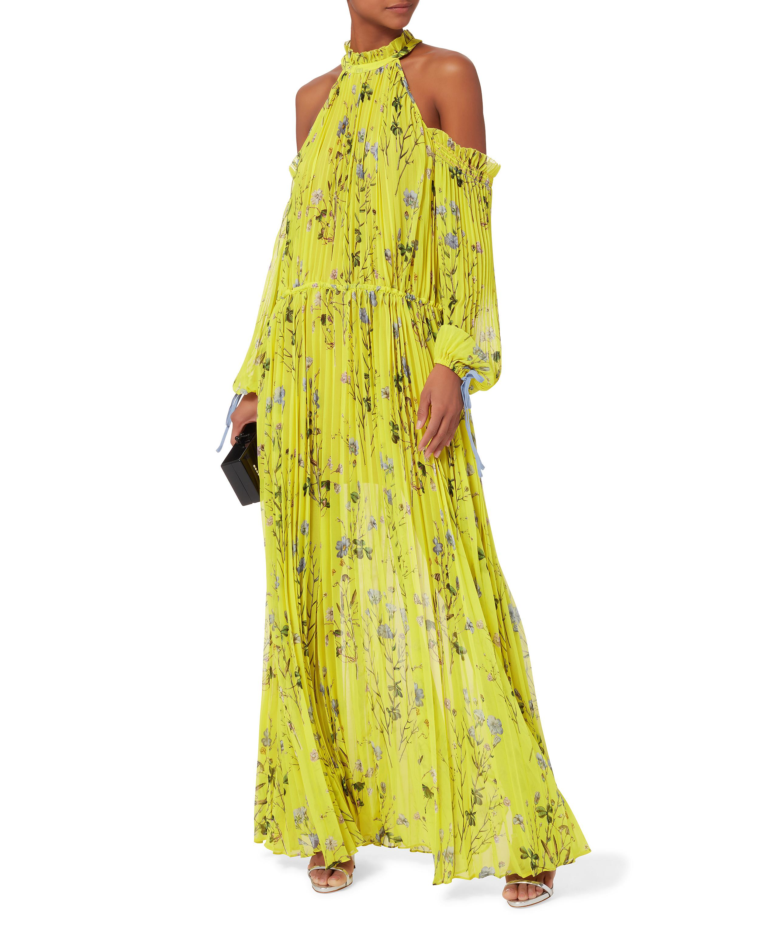 f79511a10e9d5 Self-Portrait Floral-printed Cold Shoulder Maxi Dress in Yellow - Lyst