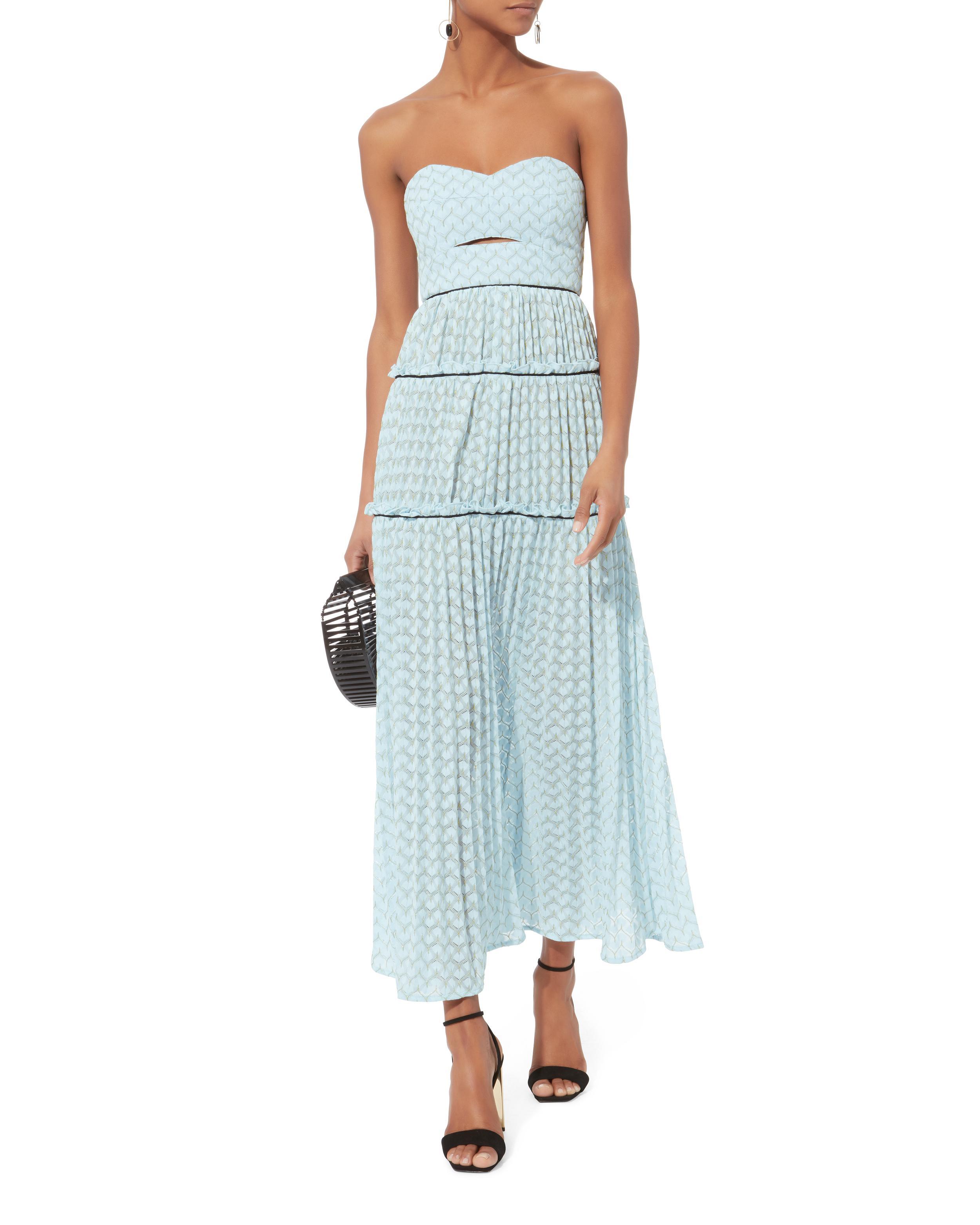 Lyst - Self-Portrait Bandeau Chevron Knit Maxi Dress in Blue
