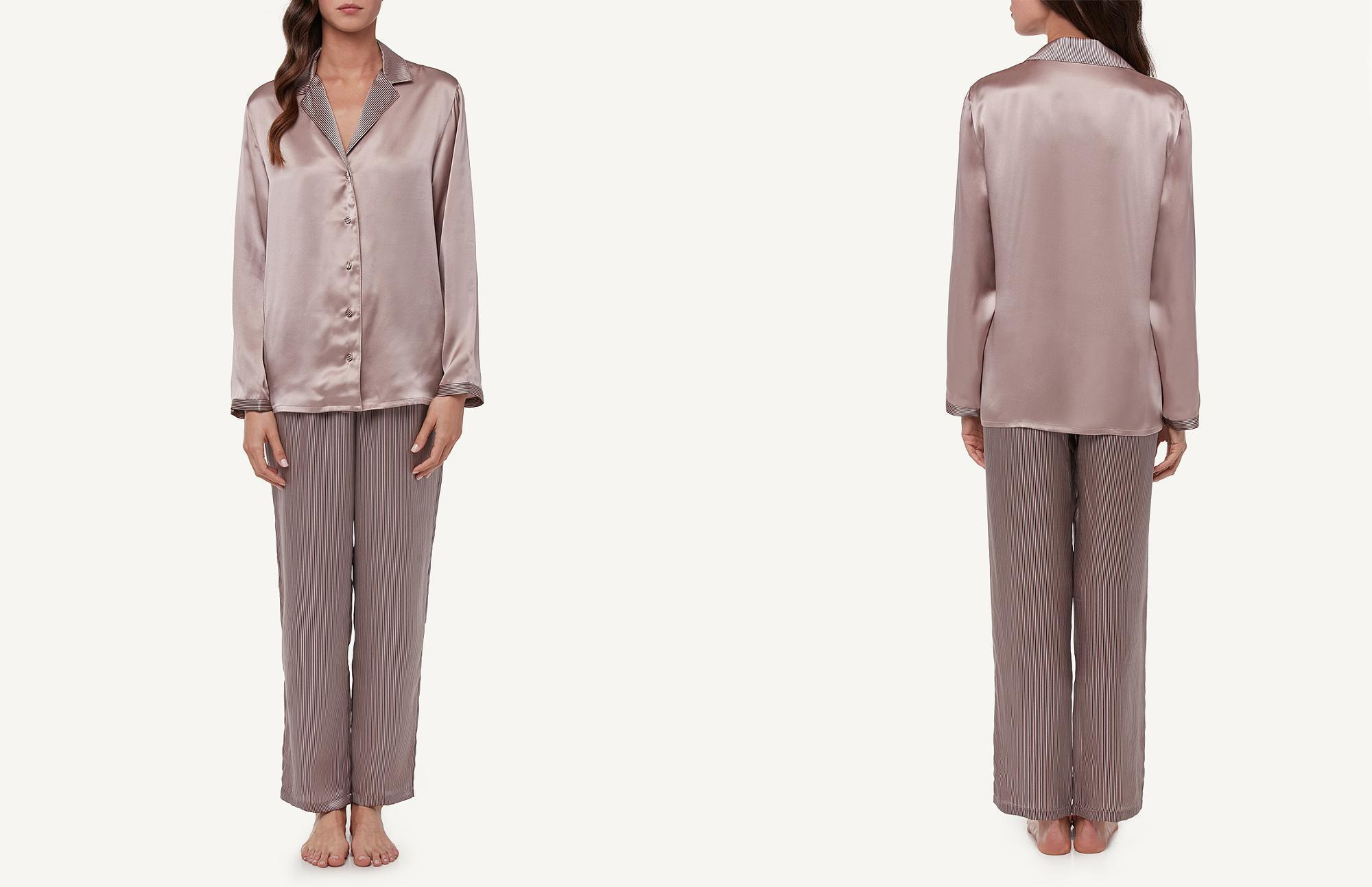 moderate cost modern techniques enjoy lowest price Intimissimi Stripe Print Silk Satin Pajama Pant Set in Pink ...