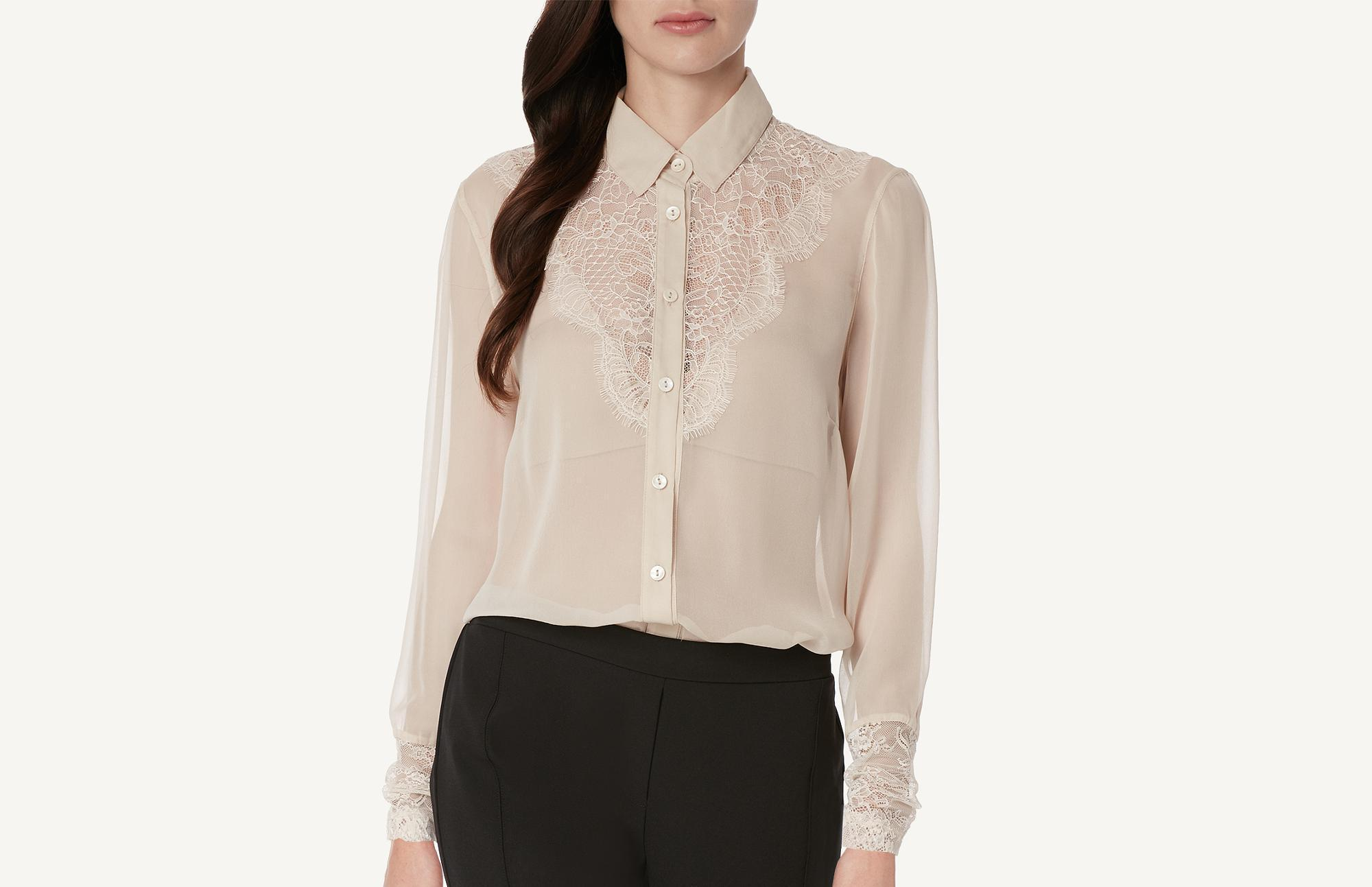 8571347a594a3 Lyst - Intimissimi Lace And Silk Georgette Shirt in Natural