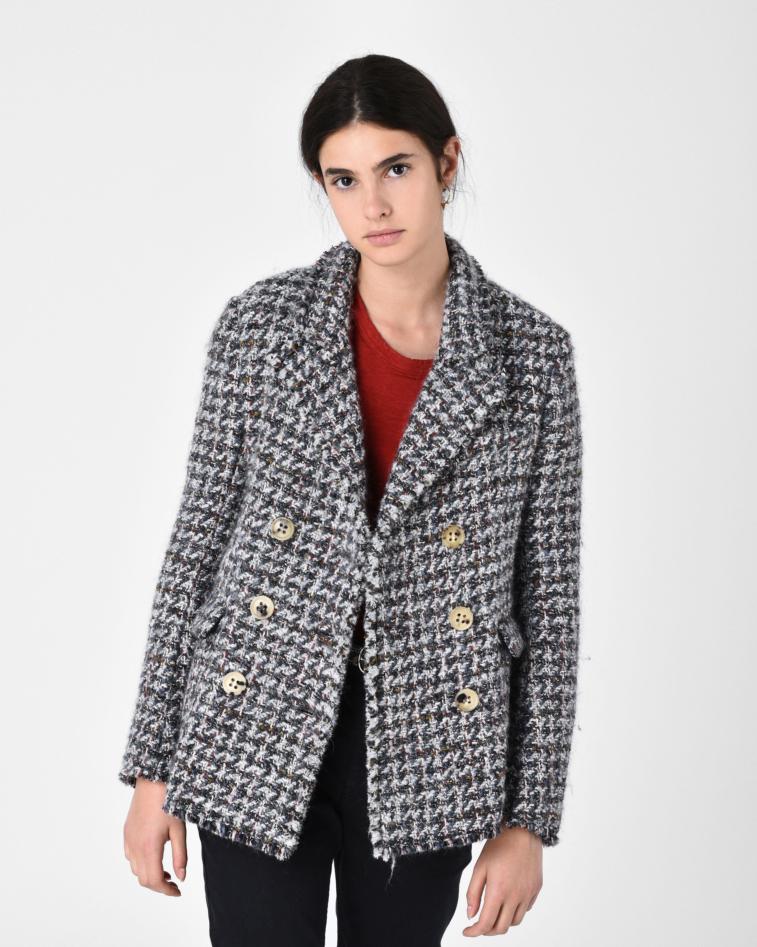 toile isabel marant jady tweed jacket in grey lyst. Black Bedroom Furniture Sets. Home Design Ideas