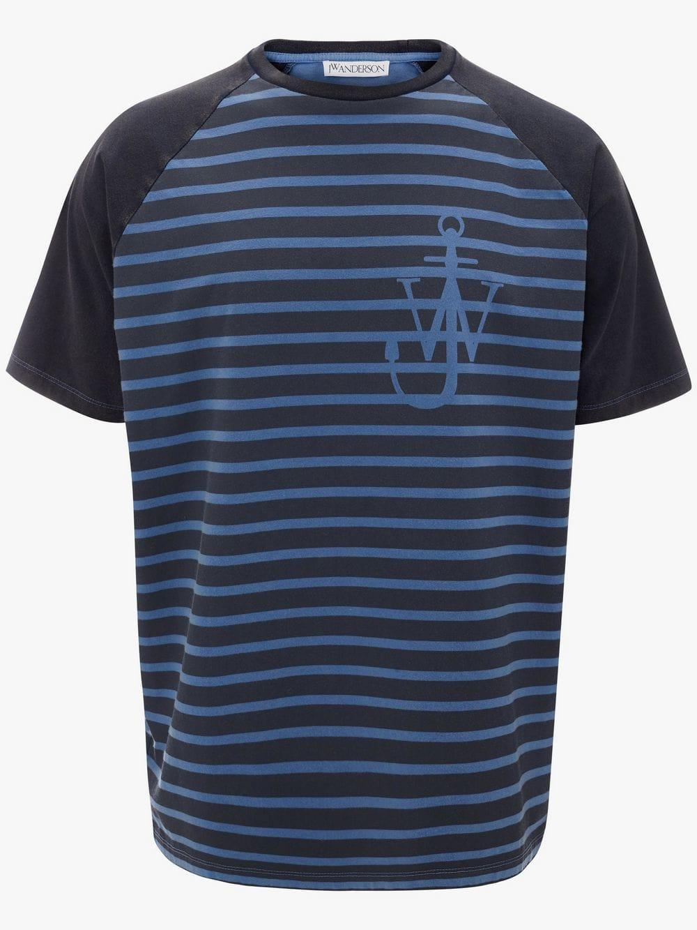 96d4663ea JW Anderson. Men's Blue Indigo Jwa Anchor And Stripes Short Sleeve Raglan T- shirt