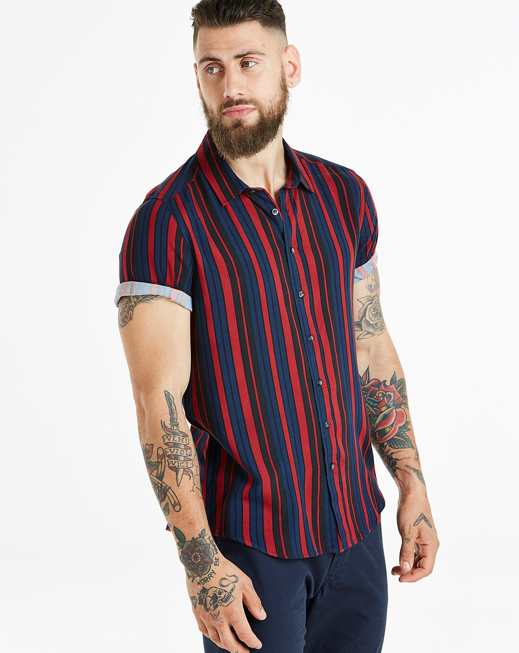 Mens Stripe Shirt Short Sleeve Jacamo