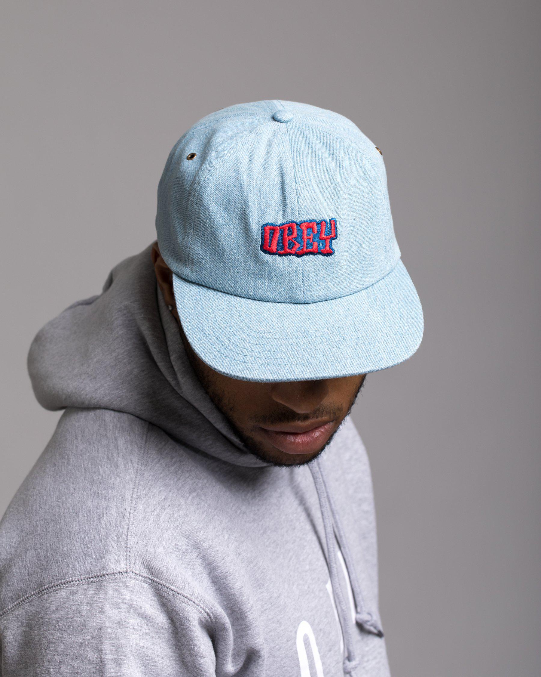 best service 09745 c51b8 ... new arrivals lyst obey campbell 6 panel hat in blue for men 0bad1 ccc19