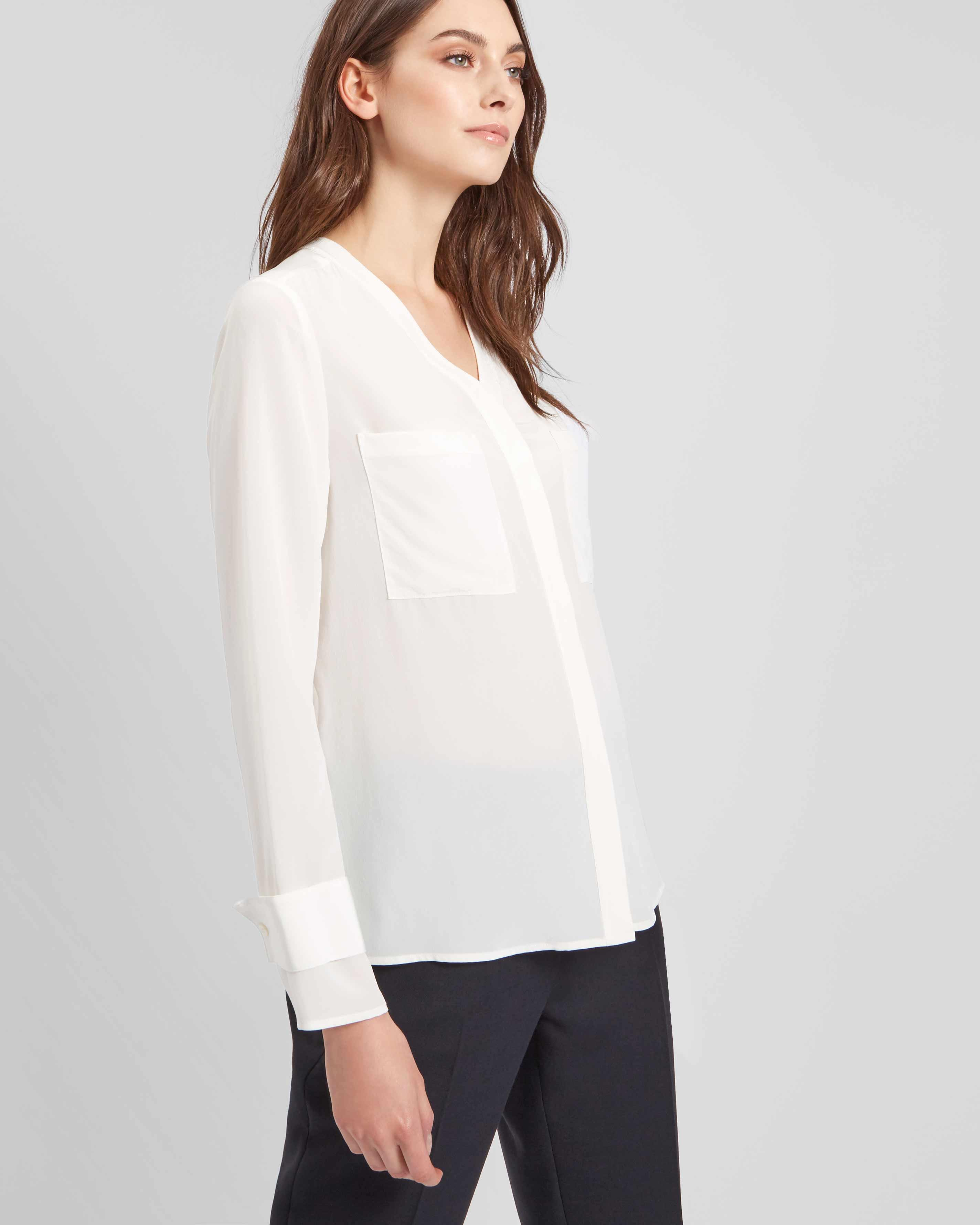 Lyst Jaeger Patch Pocket Washable Silk Blouse In White