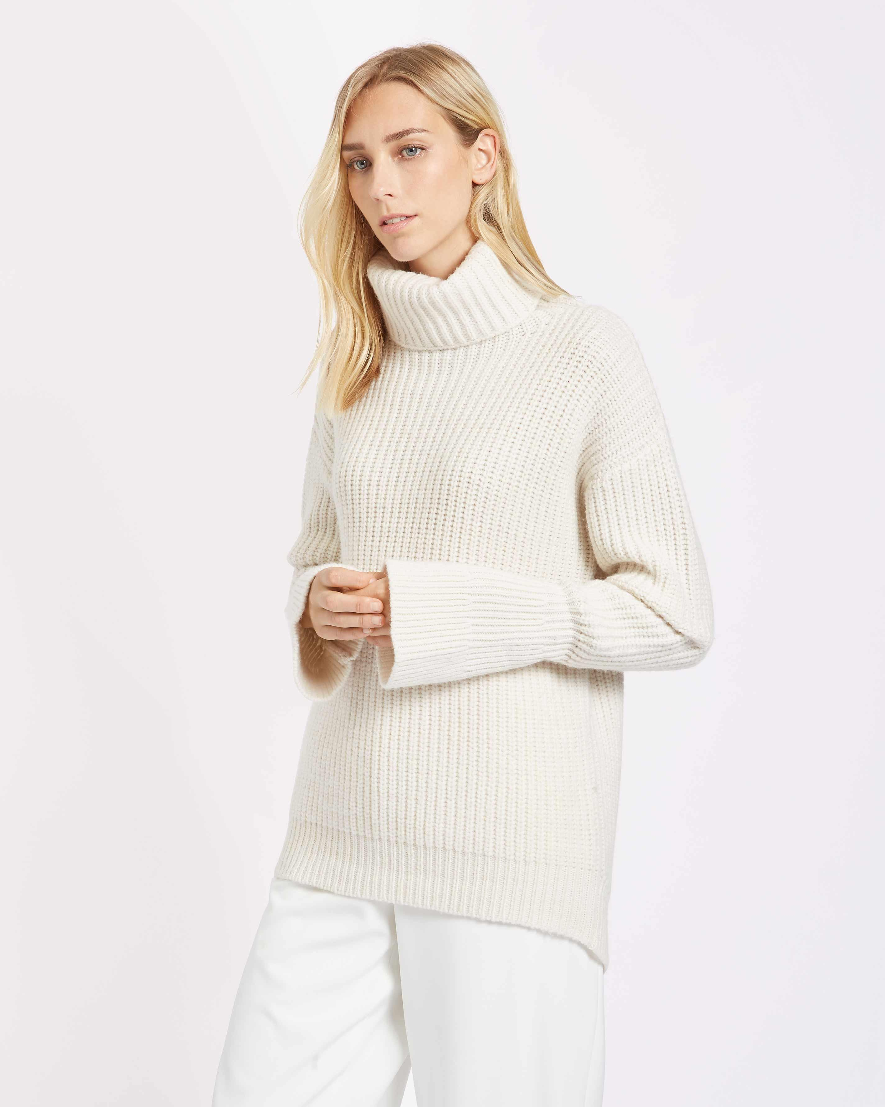 Jaeger Ribbed Cowl Neck Sweater With Fluted Sleeve in White | Lyst
