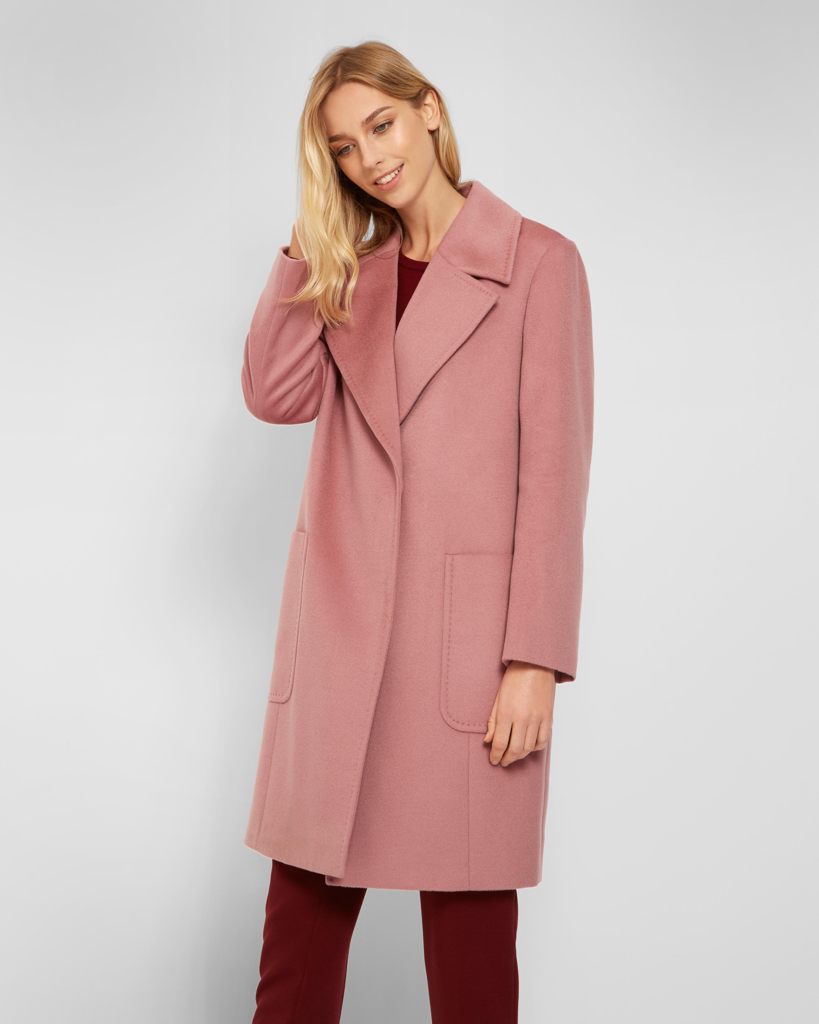 Jaeger Wide Collar Cocoon Coat in Pink   Lyst