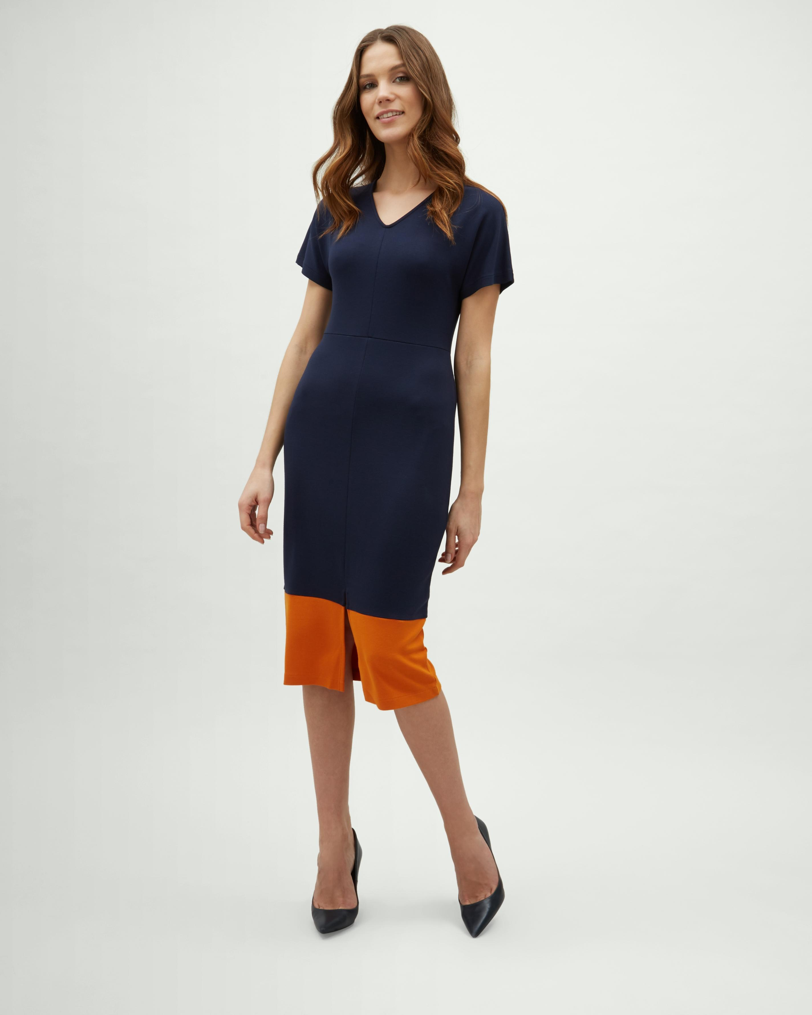 Lyst - Jaeger Colour Block Fitted Dress in Blue ea6837d6d