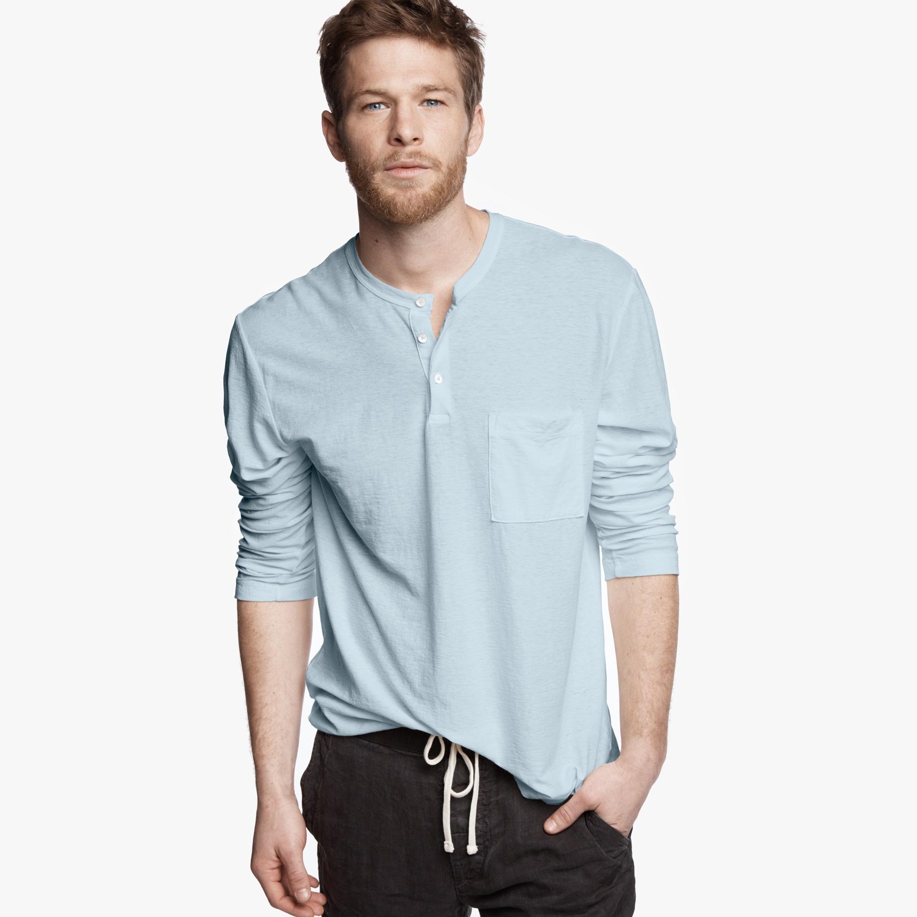 James Perse Cotton Linen Pocket Henley In Blue For Men Lyst