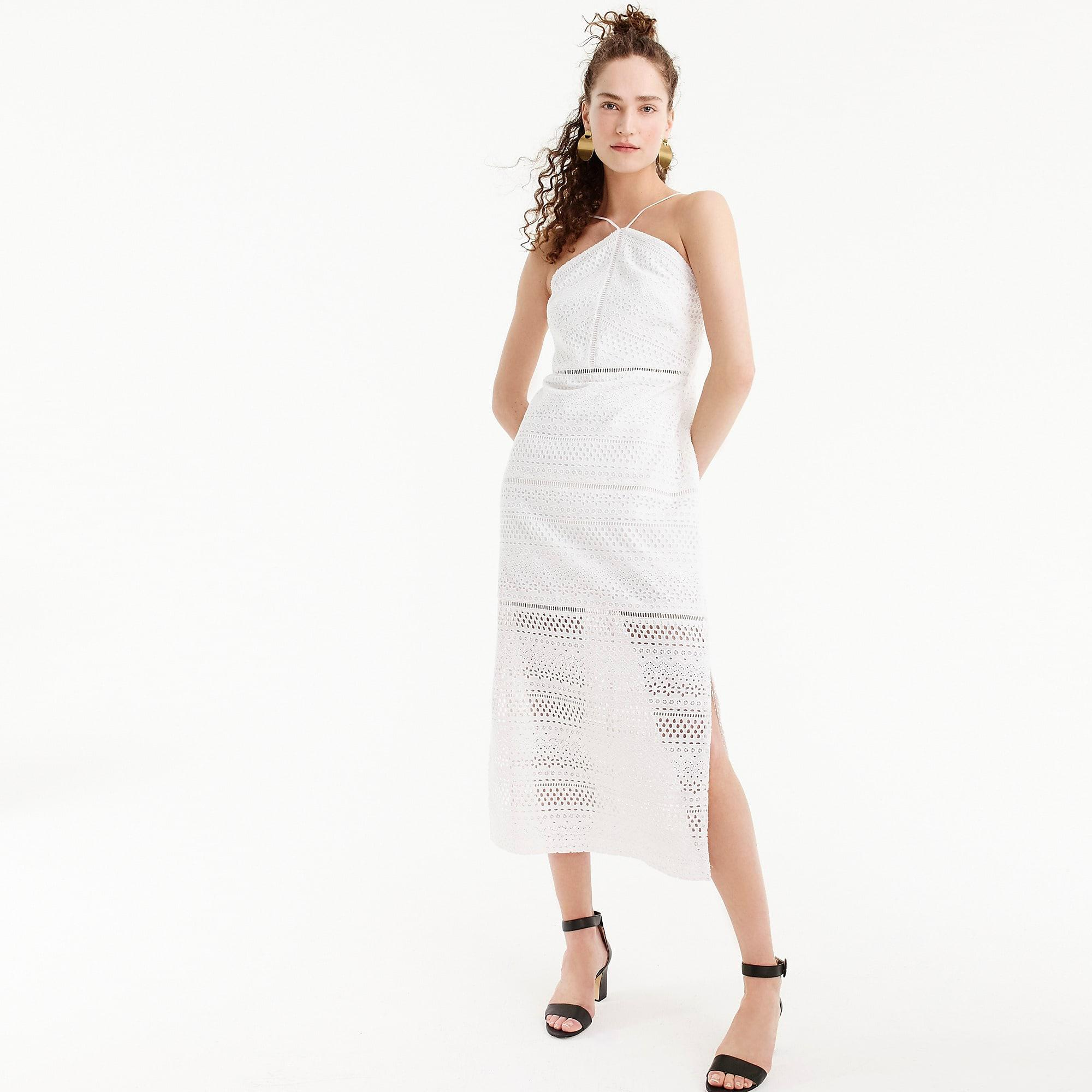 J.Crew String Halter Dress In Eyelet in White