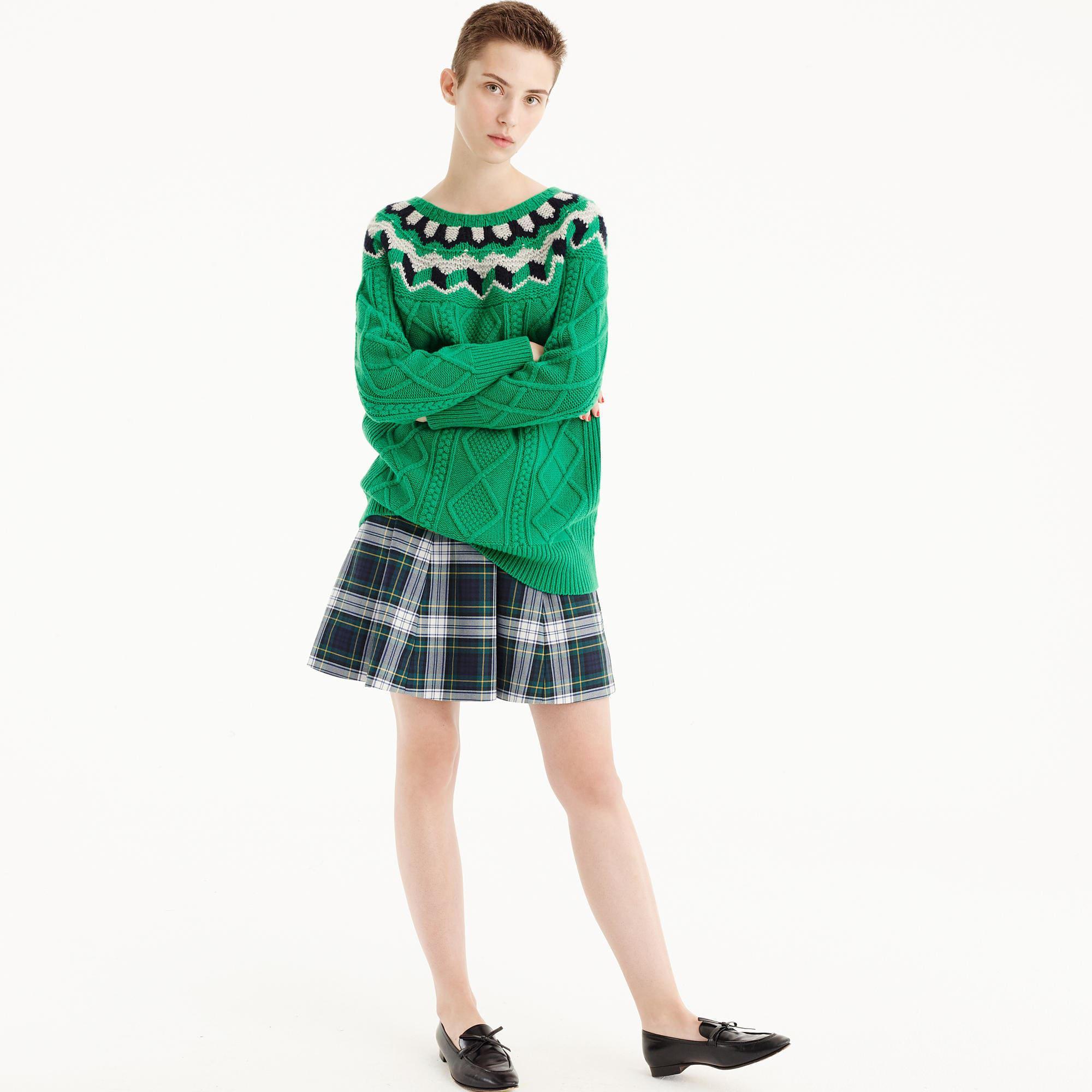 b63b600fd Lyst - J.Crew Full Mini Skirt In Tartan Plaid in Green