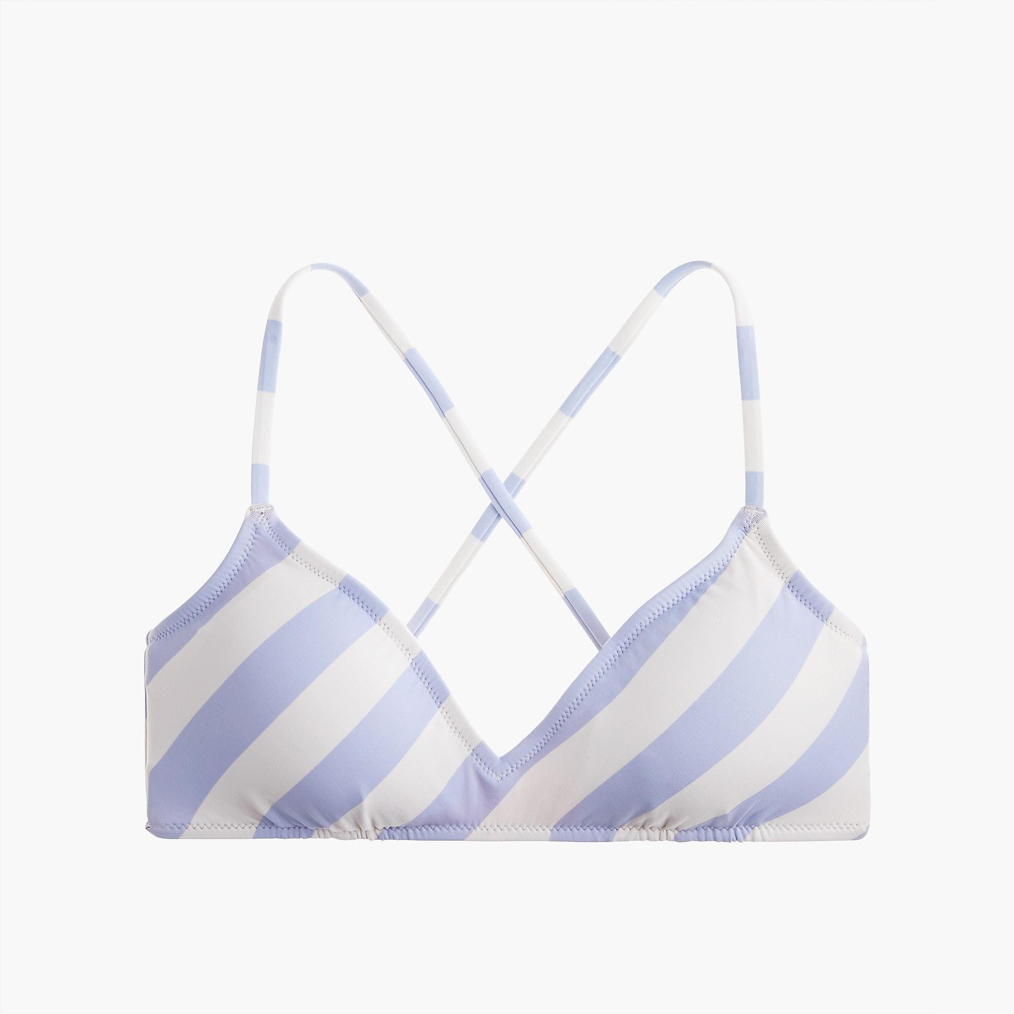 f36611fea6d71 J.Crew. Women s French Cross-back Bikini Top In Asymmetric Stripe