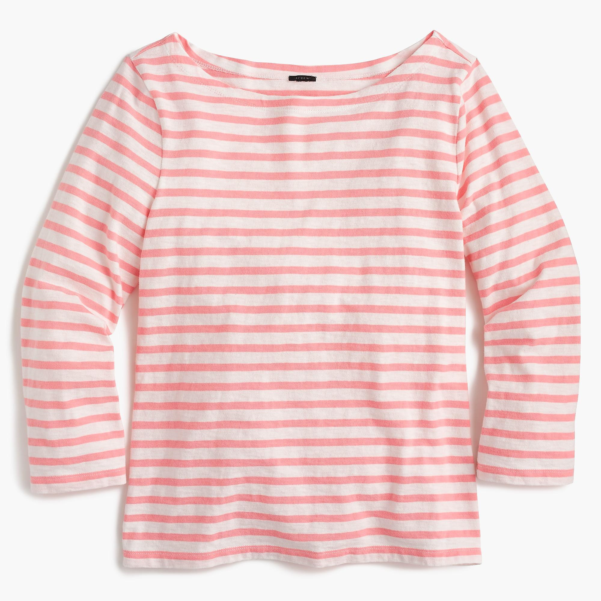 abfbfcdf3b J.Crew - Pink Striped Boatneck T-shirt - Lyst. View fullscreen