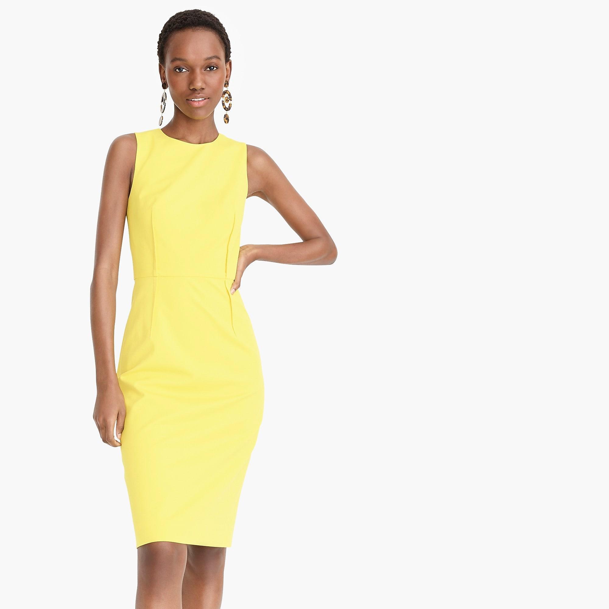 6557a234 J.Crew Sheath Dress In Bi-stretch Cotton in Yellow - Lyst