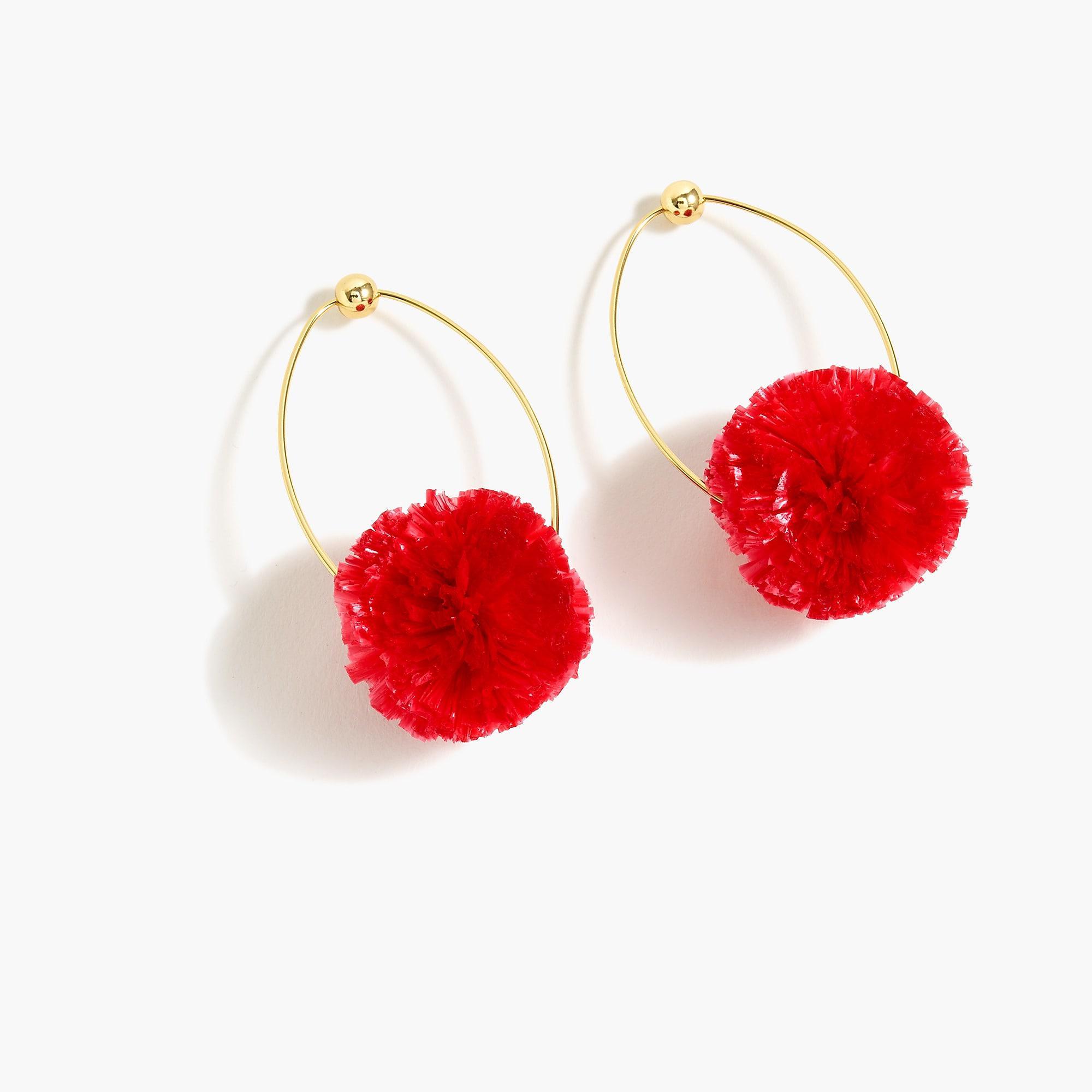 Lyst - J.Crew Raffia Pom-pom Earrings in Red