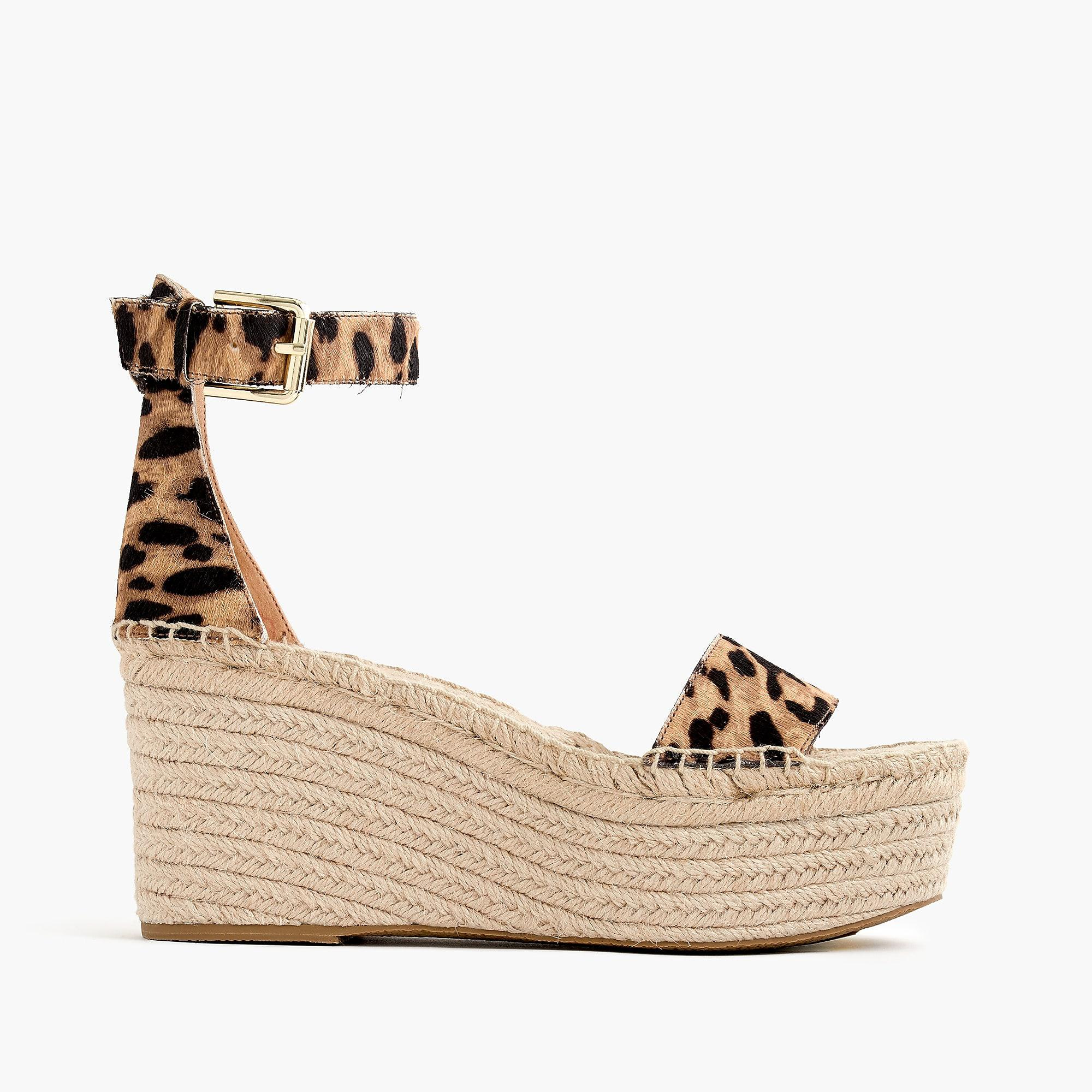 J.CREW PLATFORM LEOPARD - High heeled sandals - hazelnut/black