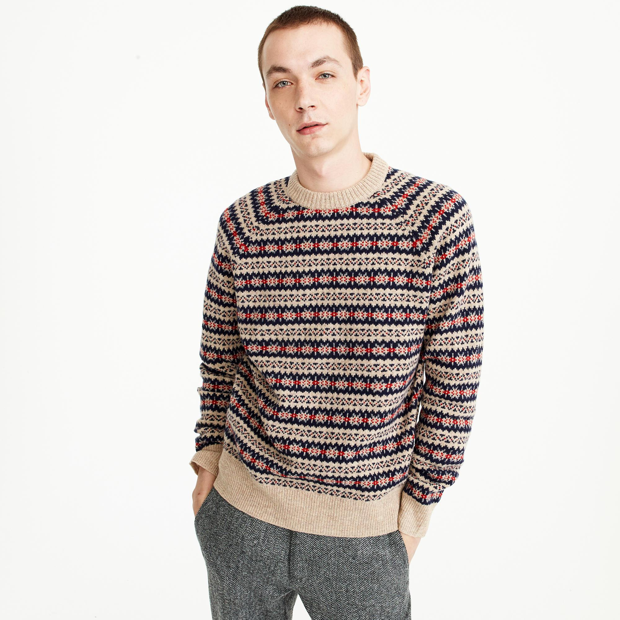 J.crew Lambswool Fair Isle Crewneck Sweater In Camel for Men | Lyst