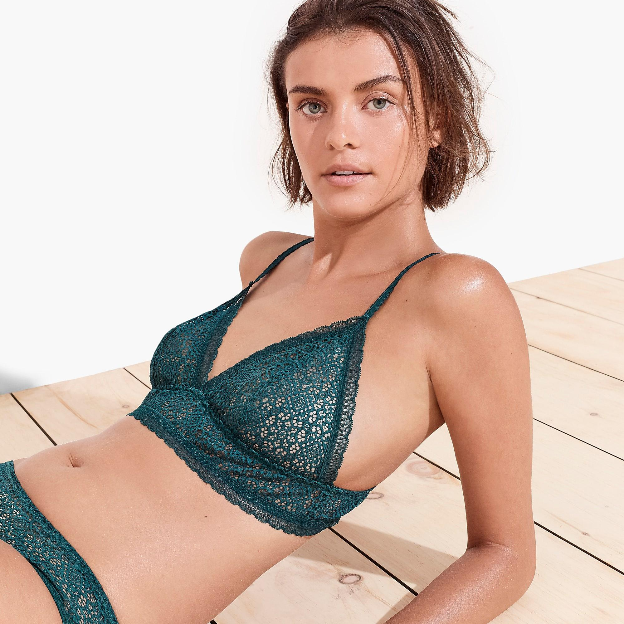 4d53f59acdd J.Crew Allover Lace Pullover Longline Bralette in Green - Lyst