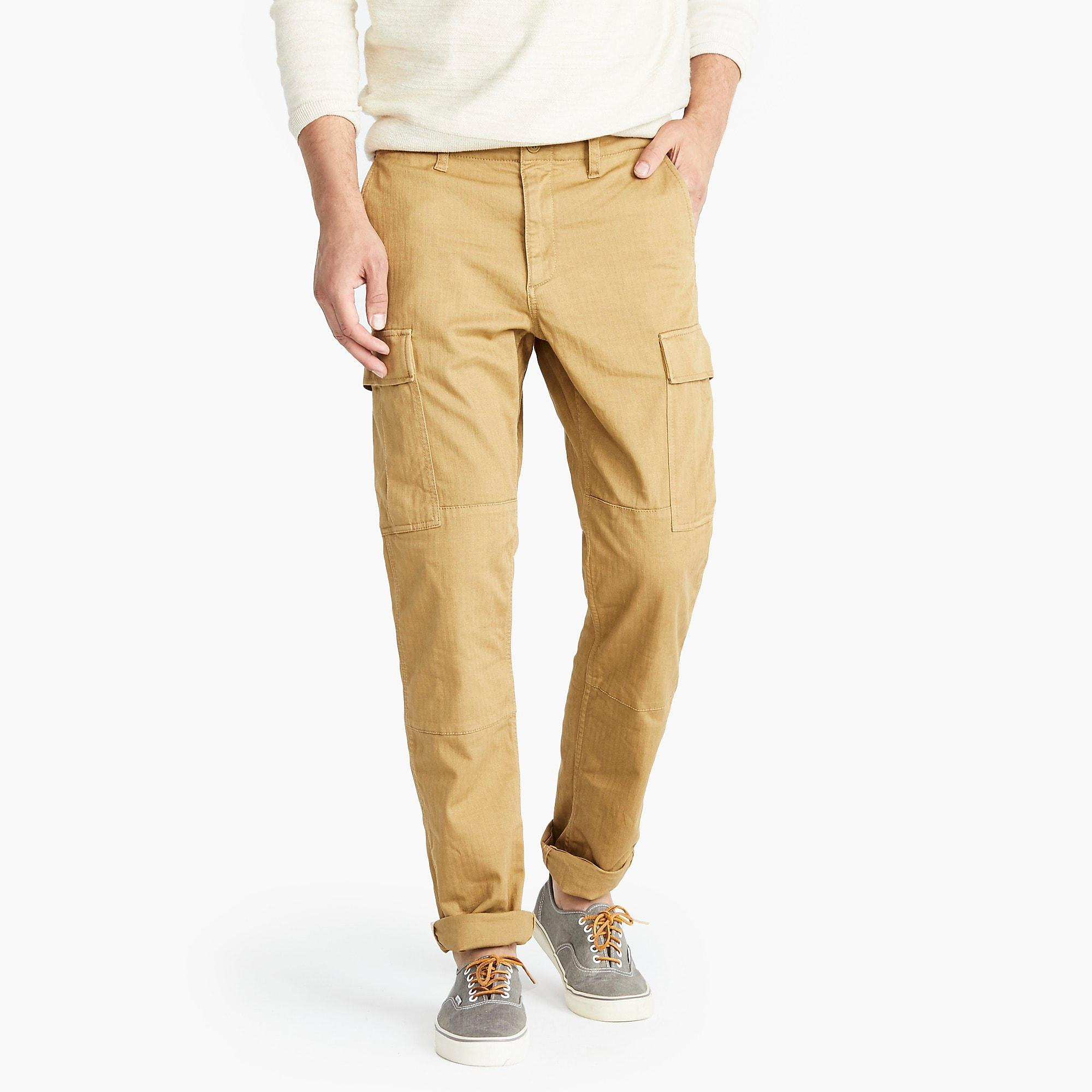 3a114fa77b J.Crew. Brown 770 Straight-fit Stretch Cargo Pant In Garment-dyed  Herringbone