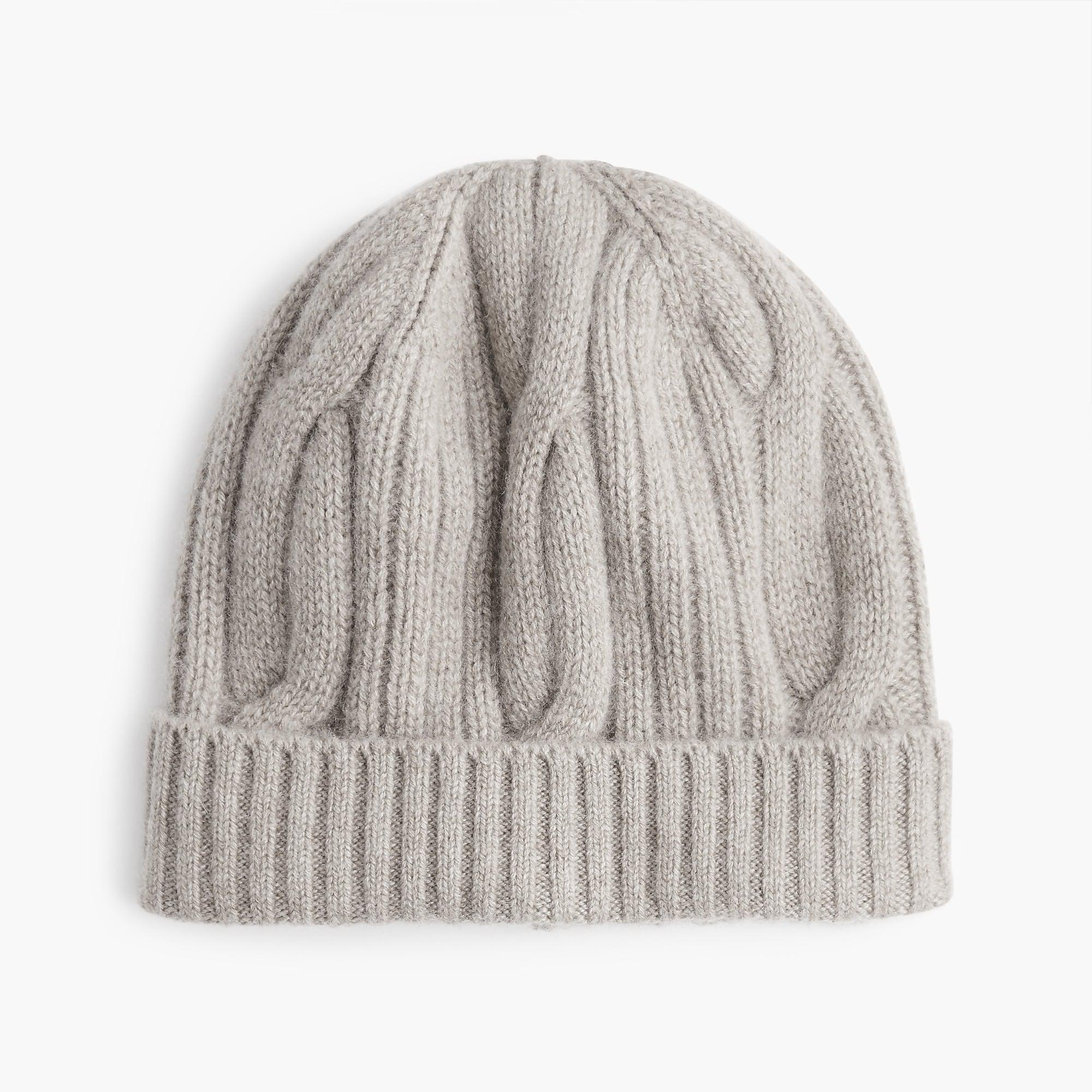 dbde6891f21b0 J.Crew Ribbed Cable-knit Beanie In Everyday Cashmere in Gray - Lyst