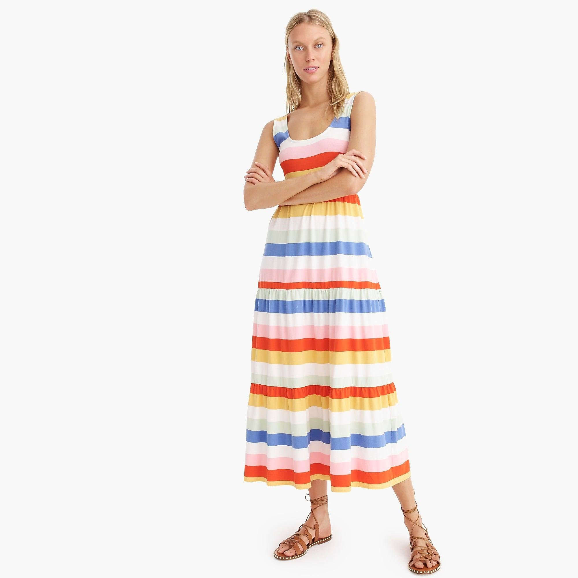 e69ffa0e32b J.Crew. Women s Tiered Knit Maxi Dress In Rainbow Wide Stripe