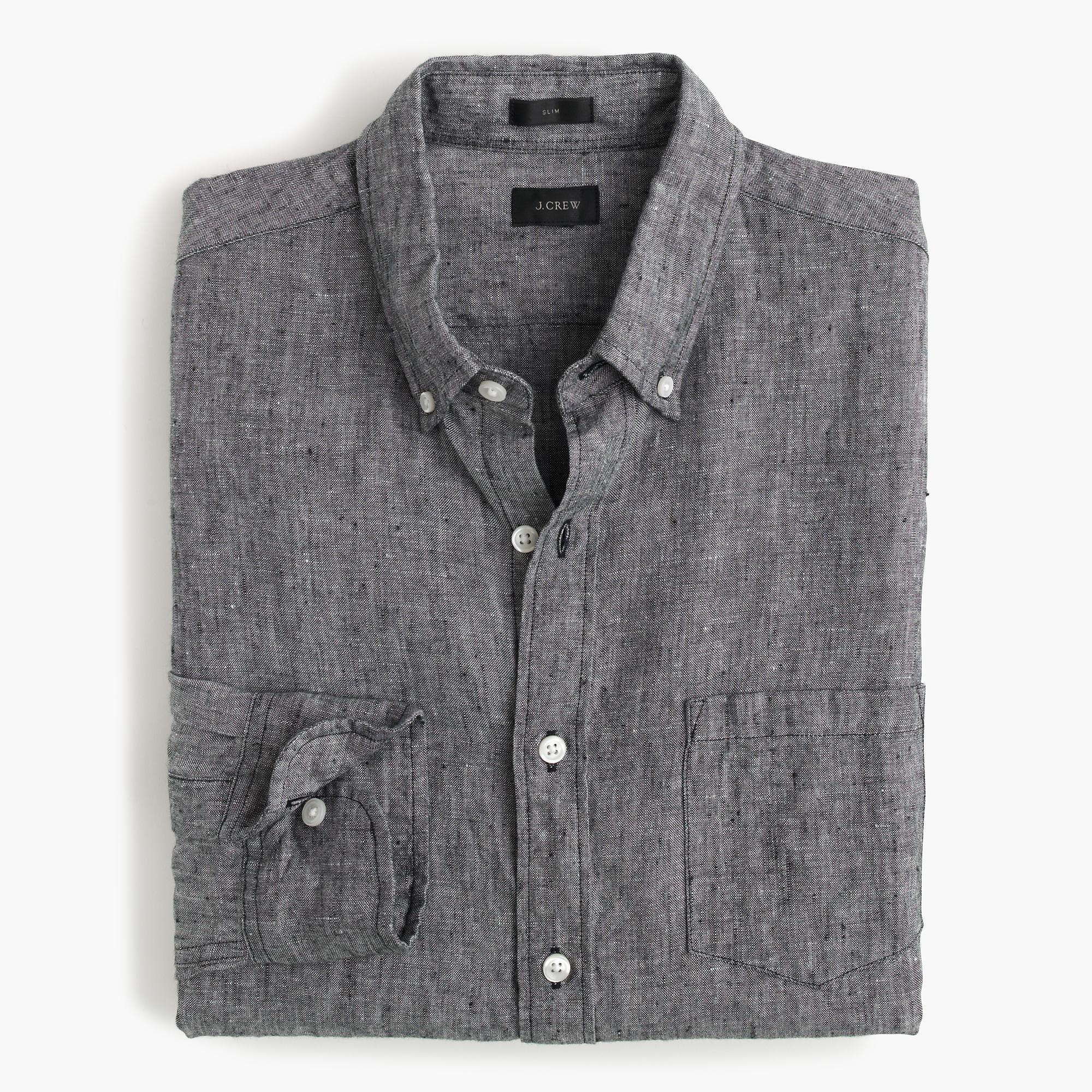 Slim d lav irish linen shirt in black for men lyst for Irish linen dress shirts