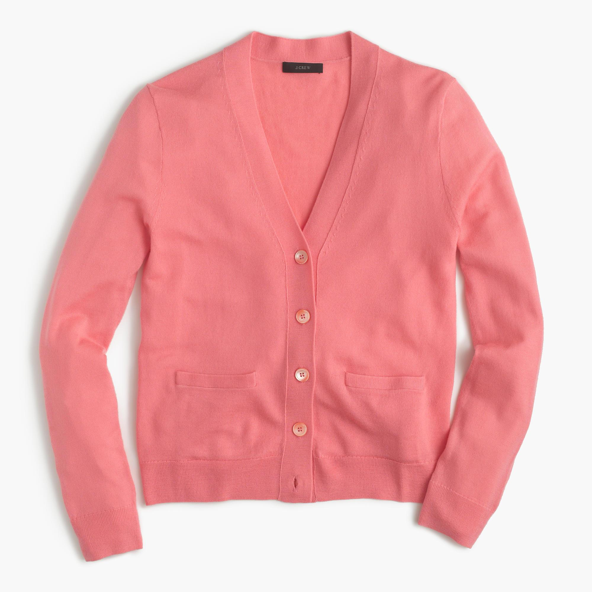J.crew V-neck Cardigan Sweater In Merino Wool in Pink | Lyst