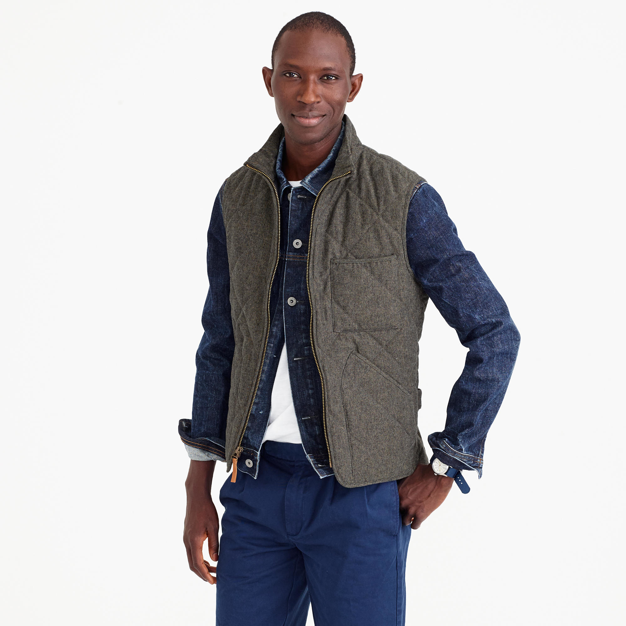 c0d3536e060b Lyst - J.Crew Sussex Quilted Vest In Cotton Twill in Brown for Men