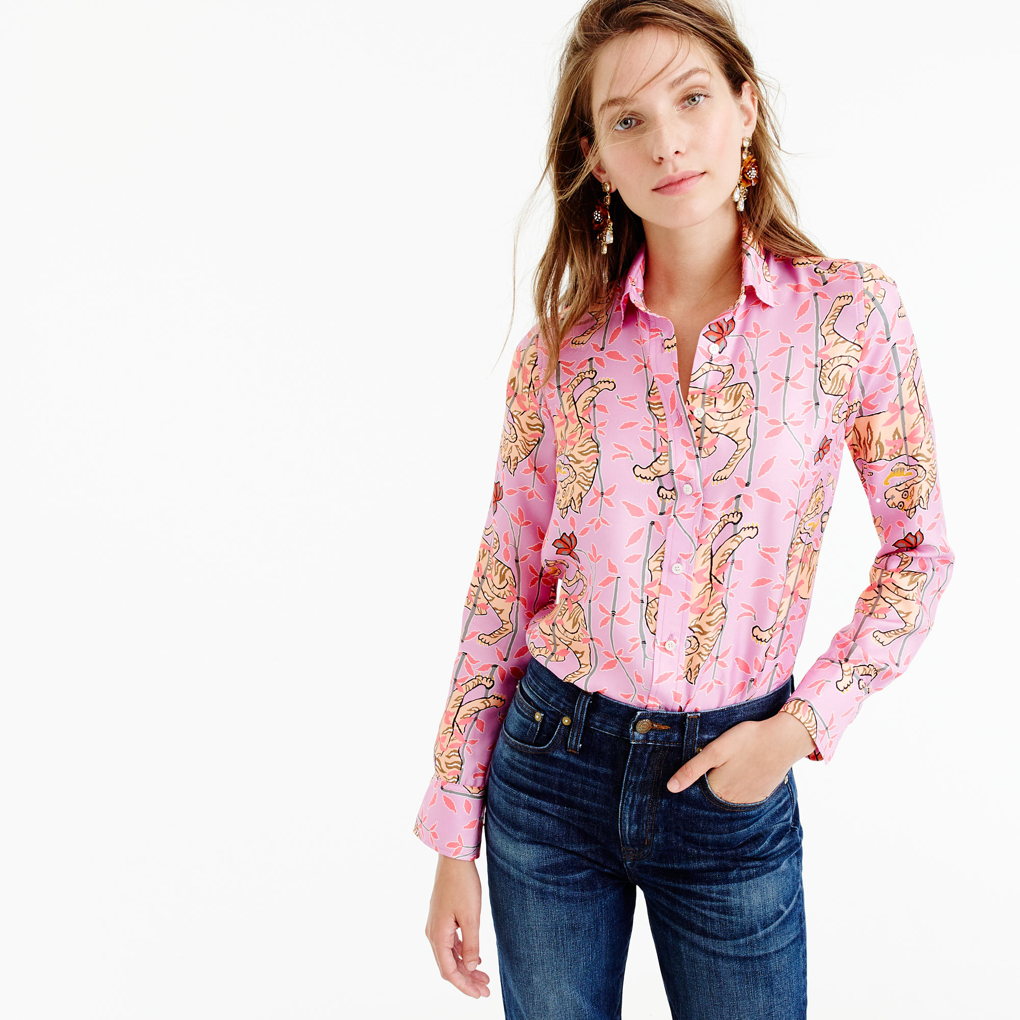 706d9d3c93eb47 Lyst - J.Crew Collection Drake s Perfect Shirt In Pink Bengal Tiger