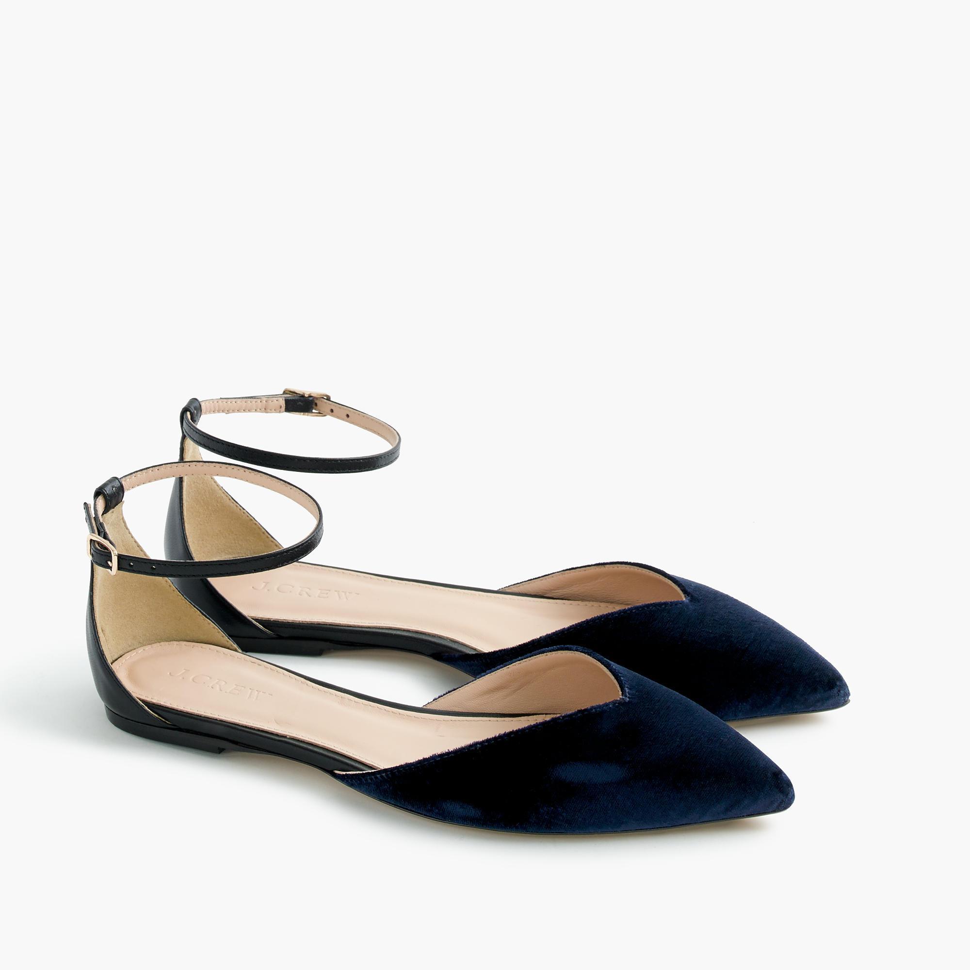cceac4d3f46b J.crew Sadie Ankle-strap Flats In Velvet