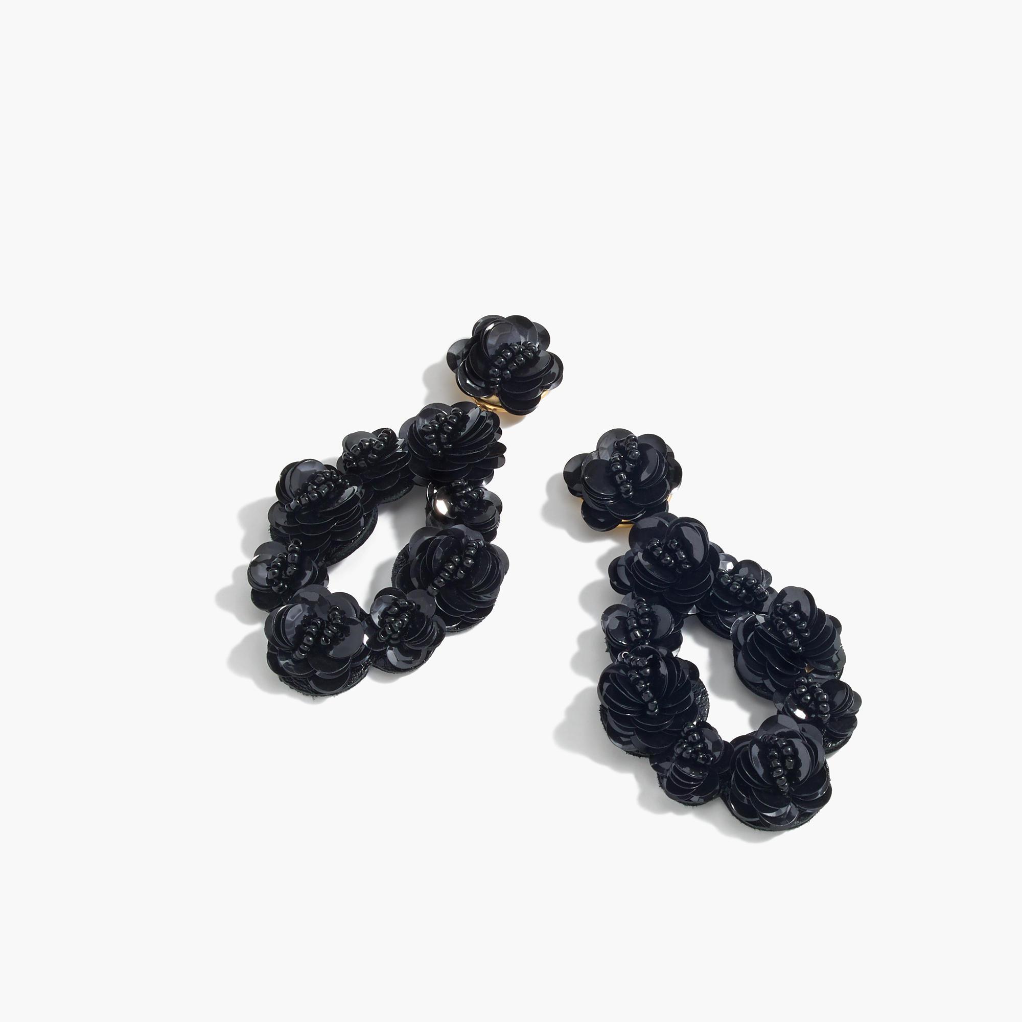 7d67c90bea3 Lyst - J.Crew Leather-backed Sequin Petal Earrings in Black