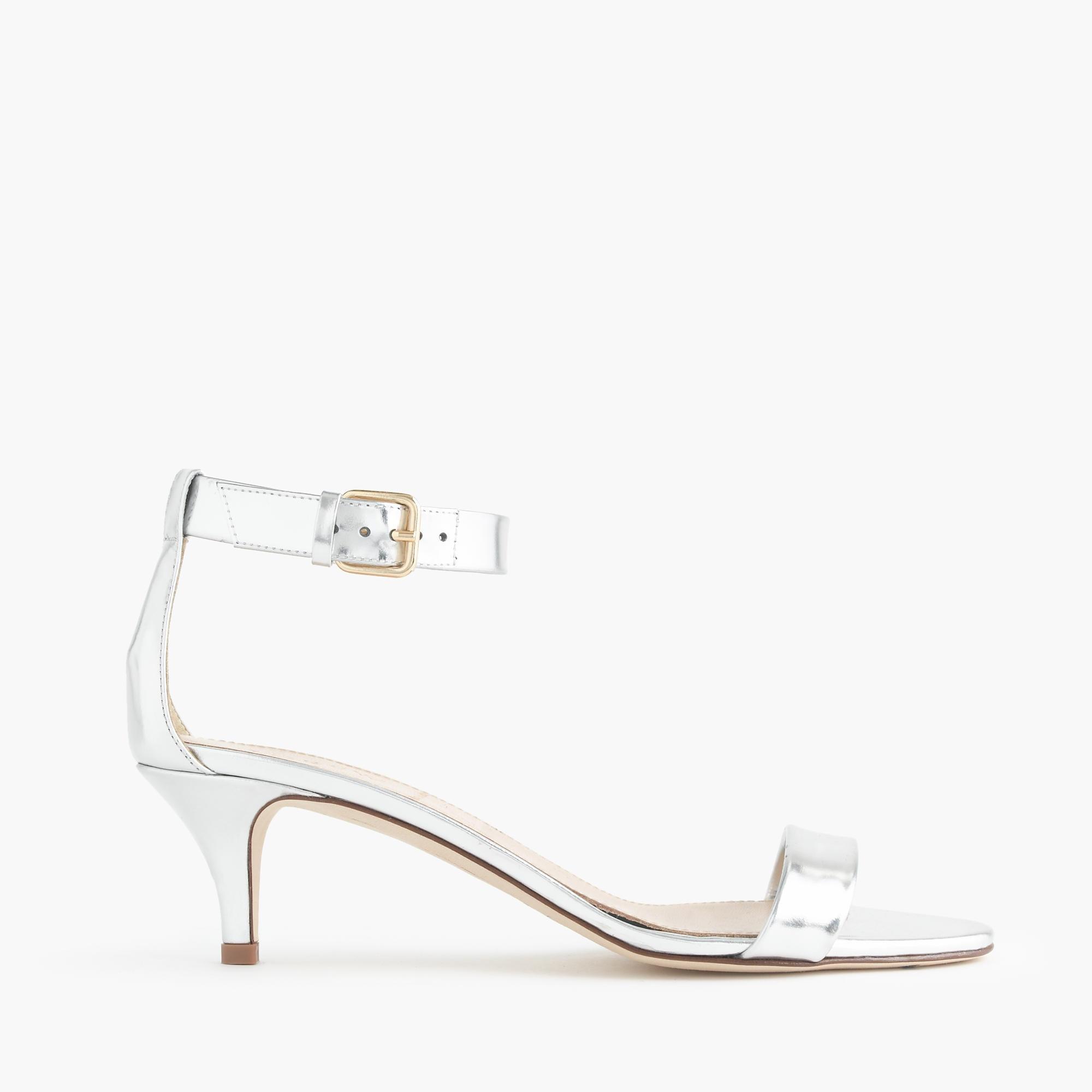 f85aa61f5f41 Lyst - J.Crew Mirror Metallic Kitten-heel Sandals in Metallic