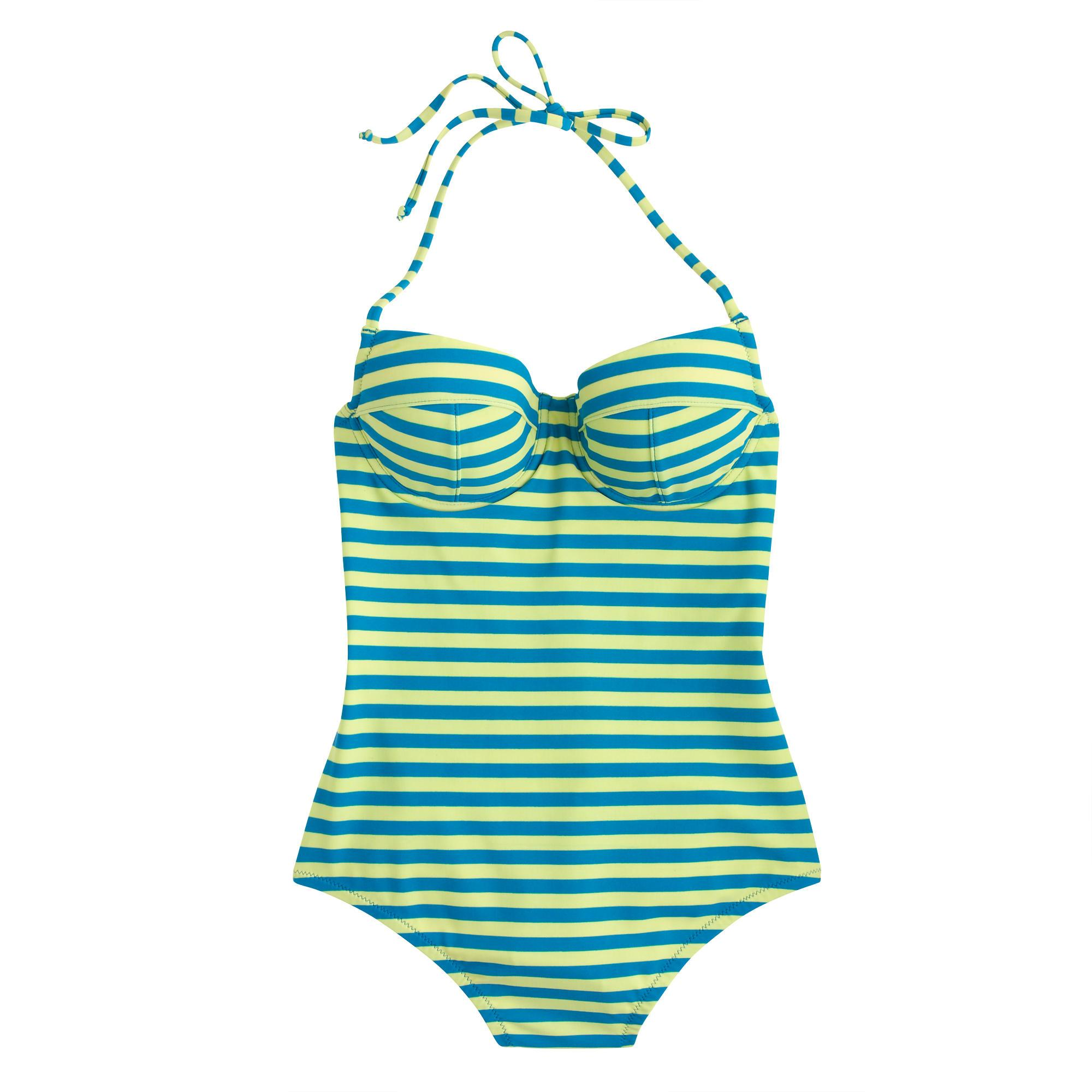 09b882ad29577 Lyst - J.Crew Dd-cup Striped Underwire One-piece Swimsuit in Blue