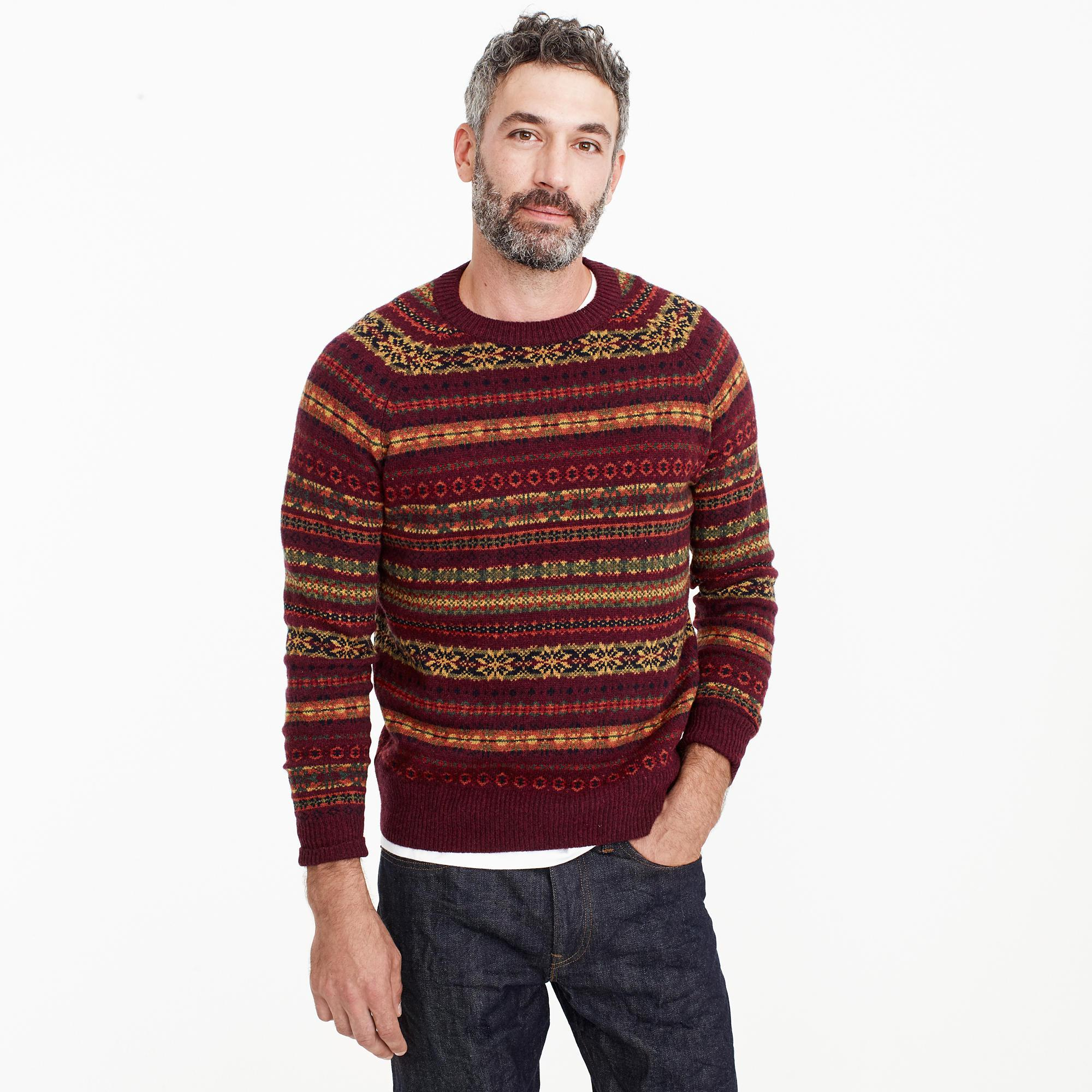J.crew Lambswool Fair Isle Crewneck Sweater In Burgundy in Red for ...