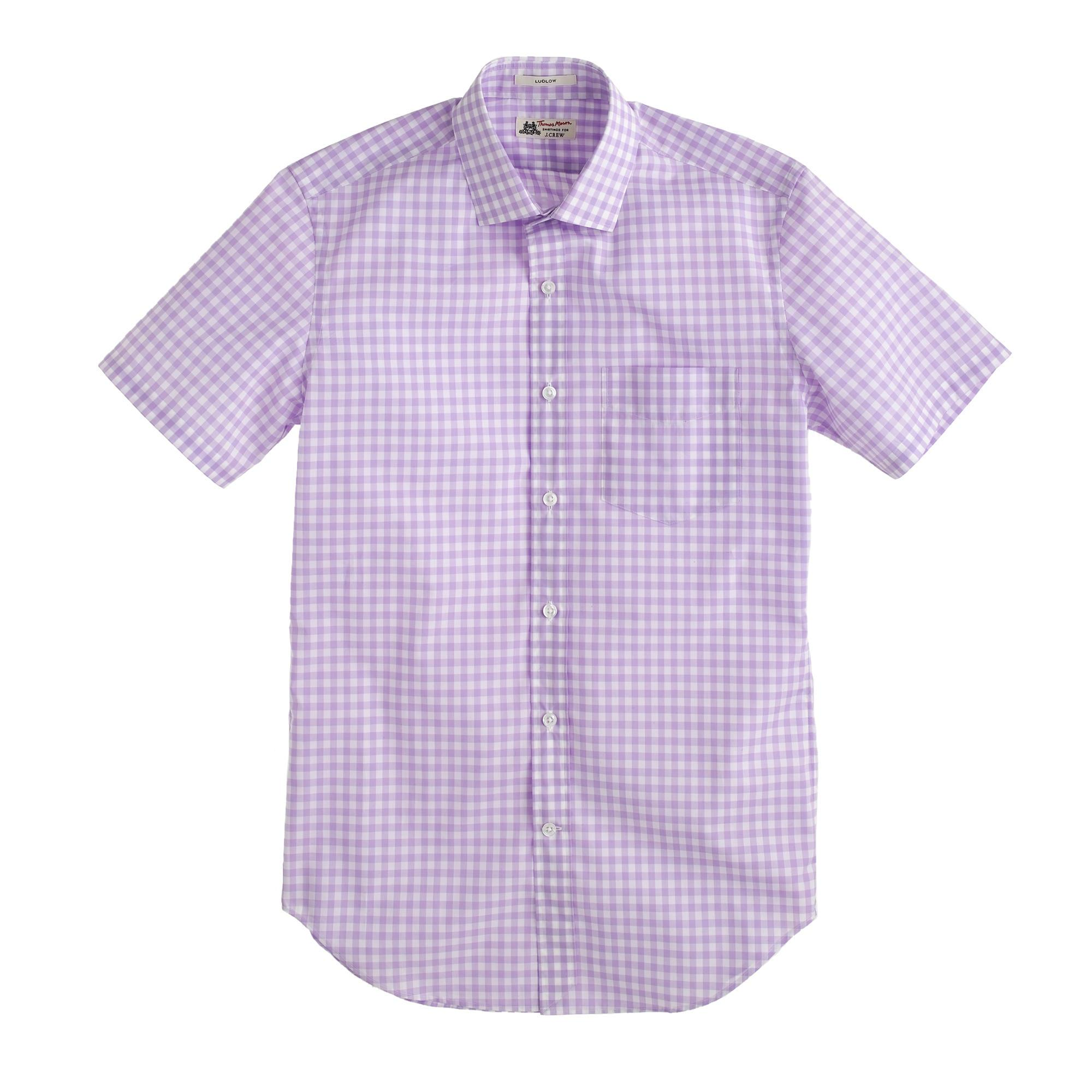 Thomas mason short sleeve ludlow shirt in violet for Men s purple gingham shirt