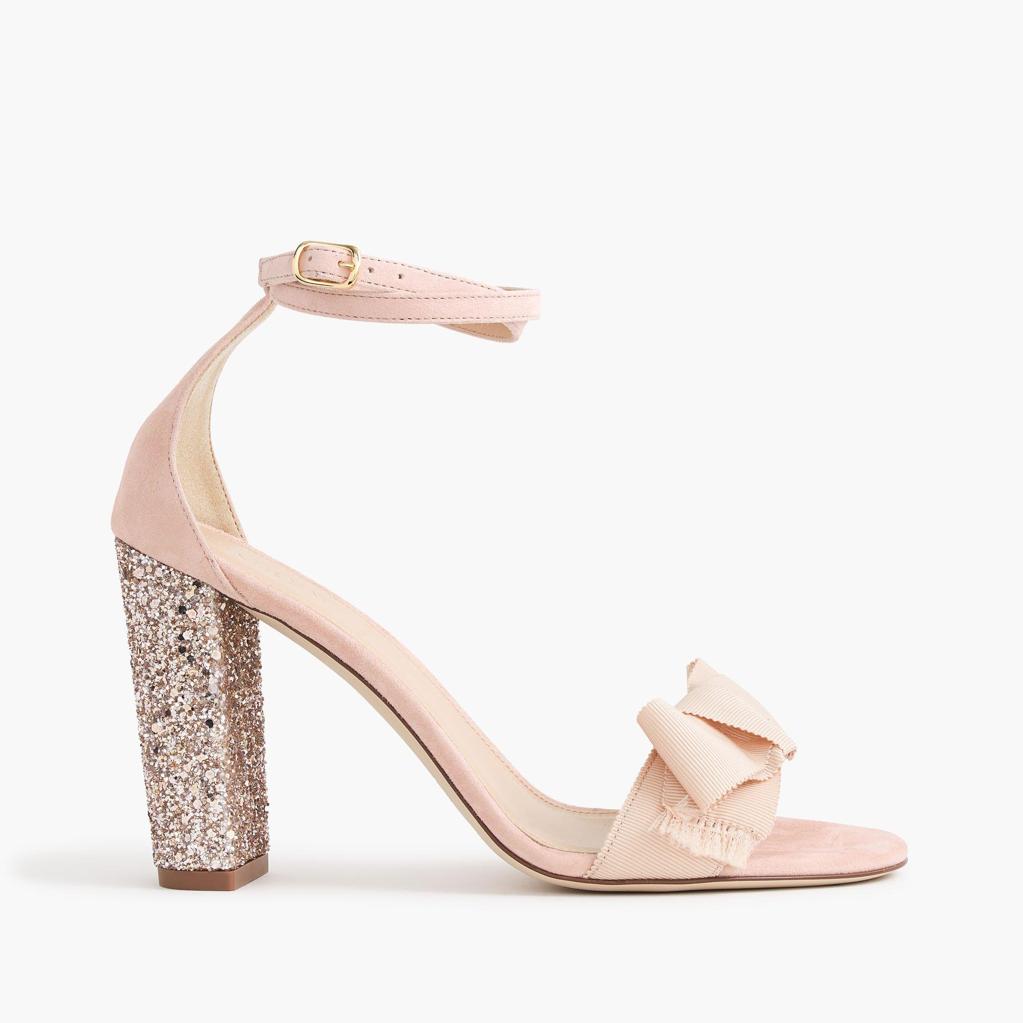16546fc76b9 Lyst - J.Crew Suede Sandals With Glitter Heels