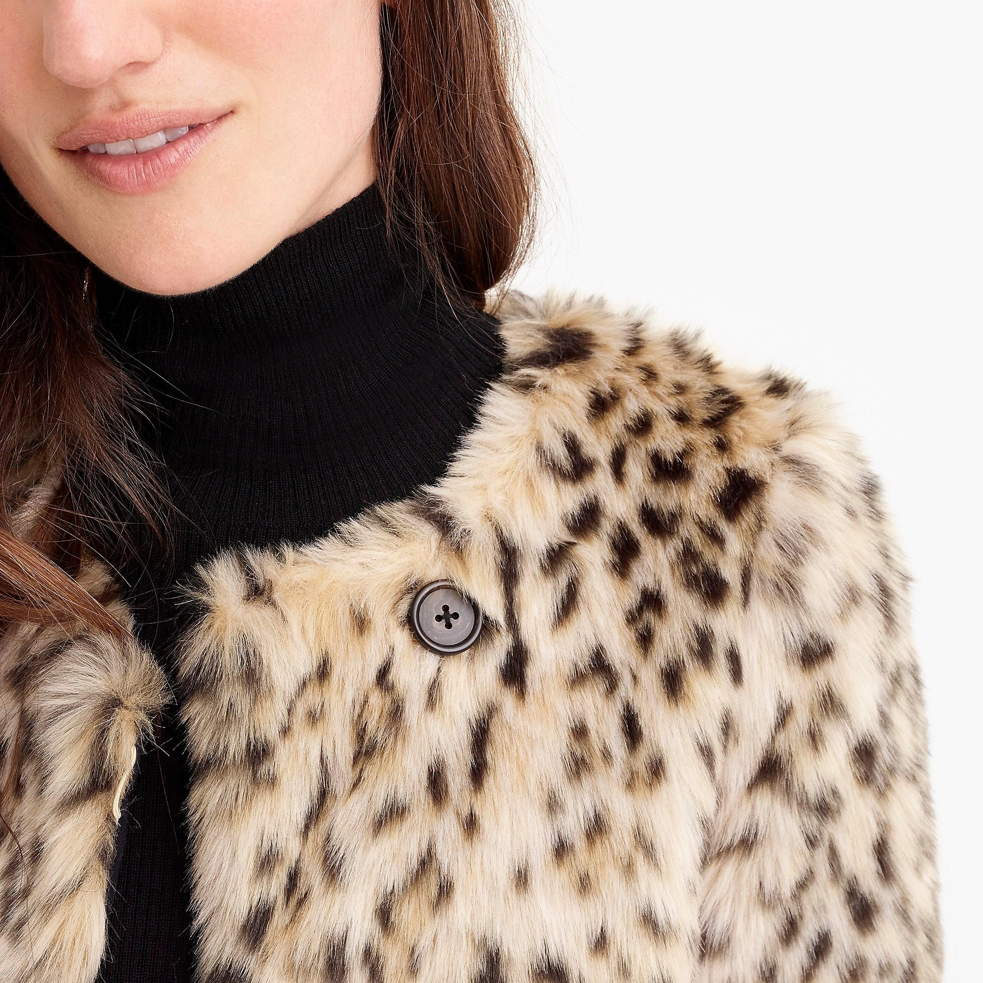 61f6f901bb60 J.Crew Cropped Faux-fur Coat In Snow Leopard in Brown - Save 60% - Lyst