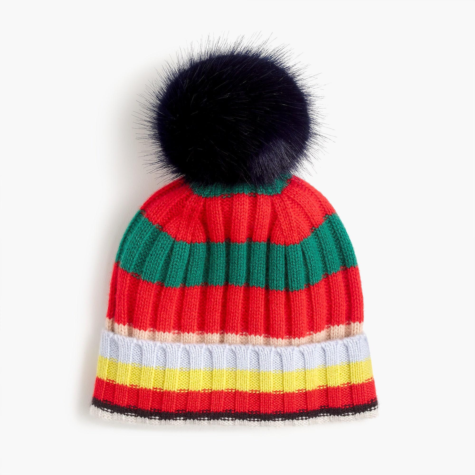 8eeb983e3fff4 J.Crew - Blue Pom Pom Hat In Striped Everyday Cashmere - Lyst. View  fullscreen