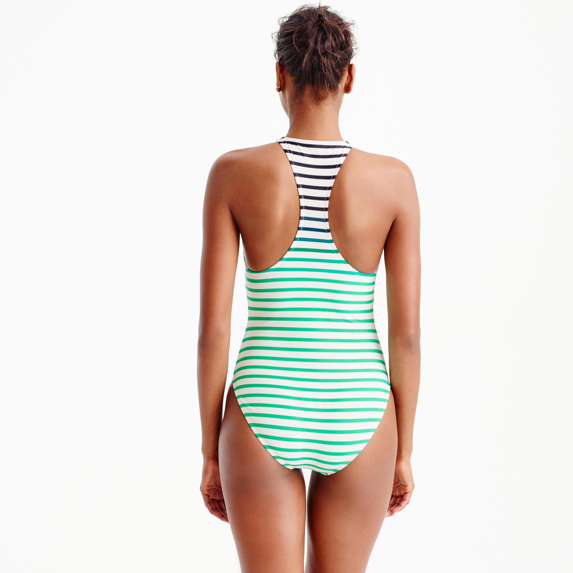7dfa70bc18 J.Crew Zip-front One-piece Swimsuit In Ombré Stripe in Green - Lyst
